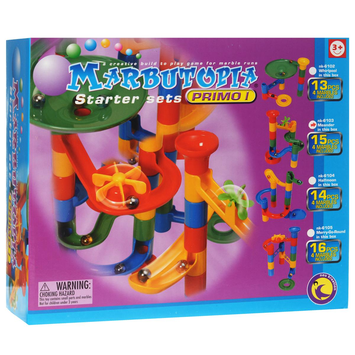Marbutopia Конструктор Извилиныnk-6103Конструктор Marbutopia Извилины - первый шаг ребенка в мир конструирования объемных лабиринтов. В данном комплекте имеются разноцветные пластиковые детали: извилистые дорожки, мельница, вертикальные трубки, 4 стеклянных шарика-хамелеона и другие. Основная задача - построить горку так, чтобы шарик не застревал, а скатывался вниз по дорожкам и виражам. Особенность конструктора заключается в том, что он позволяет ребенку строить бесконечные забавные лабиринты руководствуясь своей фантазией или по прилагаемой инструкции (2 варианта сборки лабиринта). Конструирование лабиринтов полезно для развития пространственного мышления и воображения. Также развивает координацию, моторику, концентрацию, планирование, стратегию, понятие причины и следствия. Раннее развитие этих навыков, как известно, существенно увеличивает академические и интеллектуальные способности ребенка. Набор Извилины совместим с другими наборами серии Primo благодаря чему вы всегда можете дополнить...