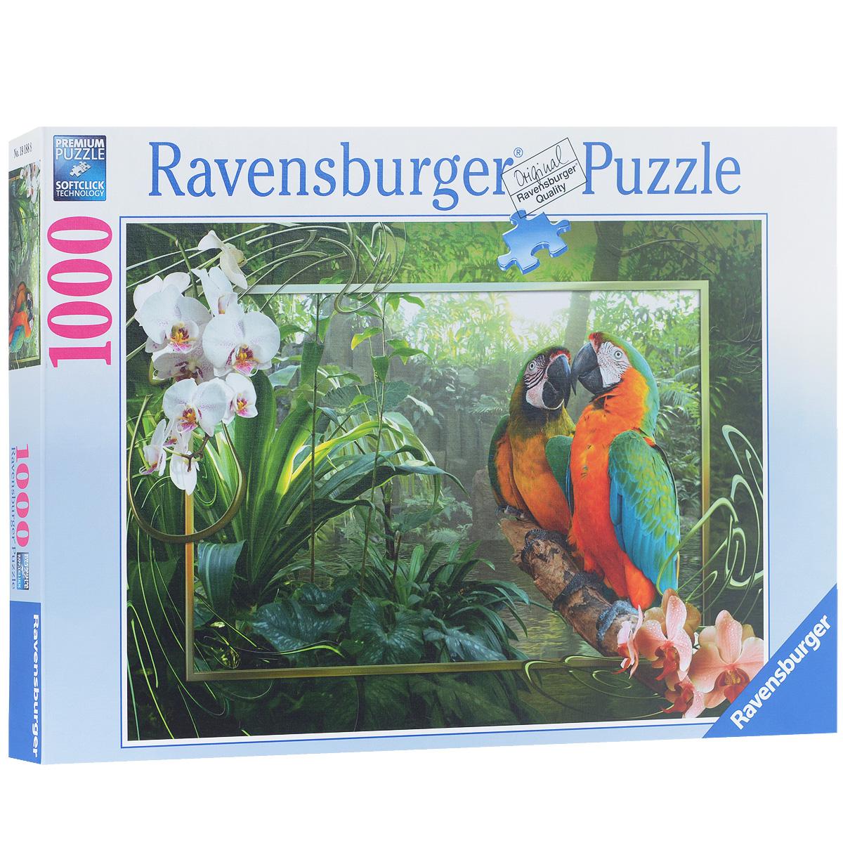 Ravensburger Попугаи Ара. Пазл, 1000 элементов19188Пазл Ravensburger Попугаи Ара, без сомнения, придется вам по душе. Собрав этот пазл, включающий в себя 1000 элементов, вы получите великолепную картину с изображением попугаев Ара. Каждая деталь имеет свою форму и подходит только на своё место. Нет двух одинаковых деталей! Пазл изготовлен из картона высочайшего качества. Все изображения аккуратно отсканированы и напечатаны на ламинированной бумаге. Пазл - великолепная игра для семейного досуга. Сегодня собирание пазлов стало особенно популярным, главным образом, благодаря своей многообразной тематике, способной удовлетворить самый взыскательный вкус. А для детей это не только интересно, но и полезно. Собирание пазла развивает мелкую моторику у ребенка, тренирует наблюдательность, логическое мышление, знакомит с окружающим миром, с цветом и разнообразными формами.