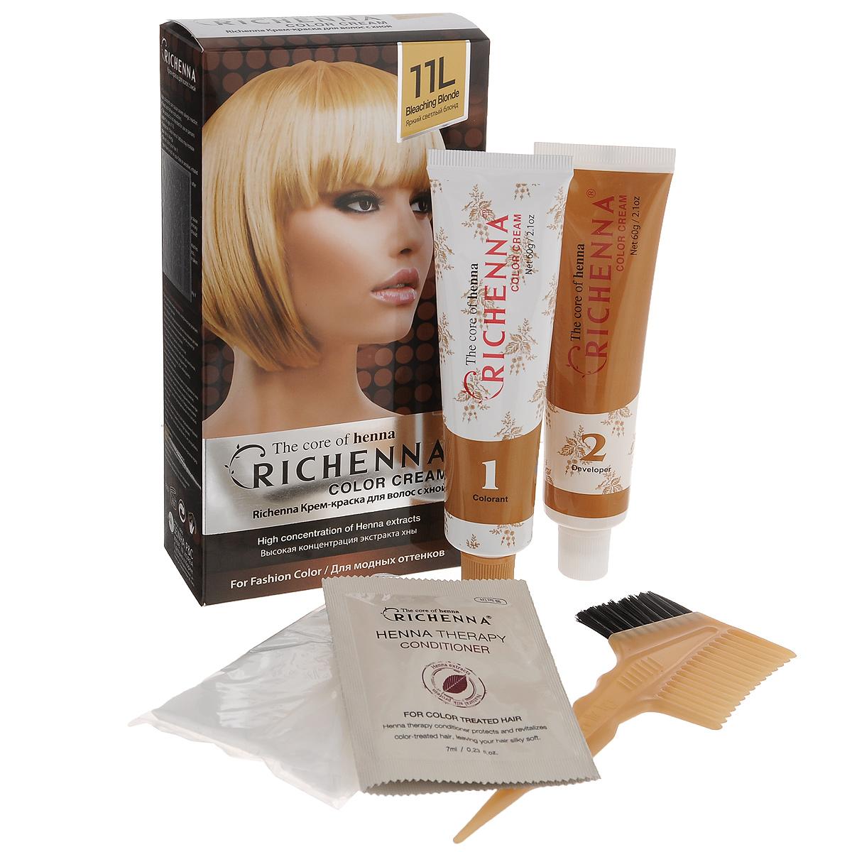 Крем-краска для волос Richenna с хной, 11L. Яркий светлый блондин29009Крем-краска для волос Richenna с хной рекомендуется для безопасного изменения цвета волос, полного окрашивания седых волос и в случае повышенной чувствительности к искусственным компонентам краски для волос. Высокая концентрация экстракта хны в составе крем-краски позволяет уменьшить повреждение волос, сделать их эластичными и здоровыми, придает волосам живой цвет и красивый блеск. Не раздражая кожу, крем-краска полностью закрашивает седину и обладает приятным цветочным ароматом. Упаковка средства в 2-х отдельных тубах позволяет использовать средство несколько раз в зависимости от объема и длины волос. Благодаря кремовой текстуре хорошо наносится и не течет. Время окрашивания 20-30 мин.