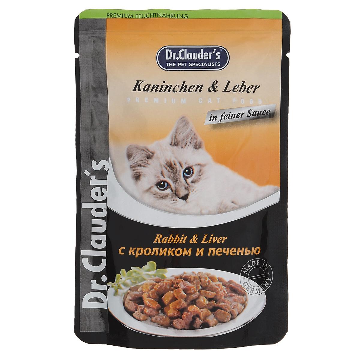 Консервы Dr. Clauders, для взрослых кошек, мясные кусочки в соусе с кроликом и печенью, 100 г14151Консервы Dr. Clauders - полноценное сбалансированное питание для взрослых кошек. Корм обладает высокой вкусовой привлекательностью и способен удовлетворить потребности любой кошки. Состав: мясо и мясные продукты (минимум 5% кролика, 5% печени), злаки, минералы, сахар. Добавки (в 1 кг): витамин D3 - 250 МЕ, витамин Е (альфа-токоферол) - 15 мг, медь - 1,0 мг, без искусственных красителей и консервантов. Содержание питательных веществ: протеин - 7,5%, жиры - 4,5%, зола - 2,5%, клетчатка пищевая - 0,3%, влажность - 82%. Товар сертифицирован. УВАЖАЕМЫЕ КЛИЕНТЫ! Обращаем ваше внимание на ассортимент в дизайне упаковки товара. Поставка осуществляется в зависимости от наличия на складе.