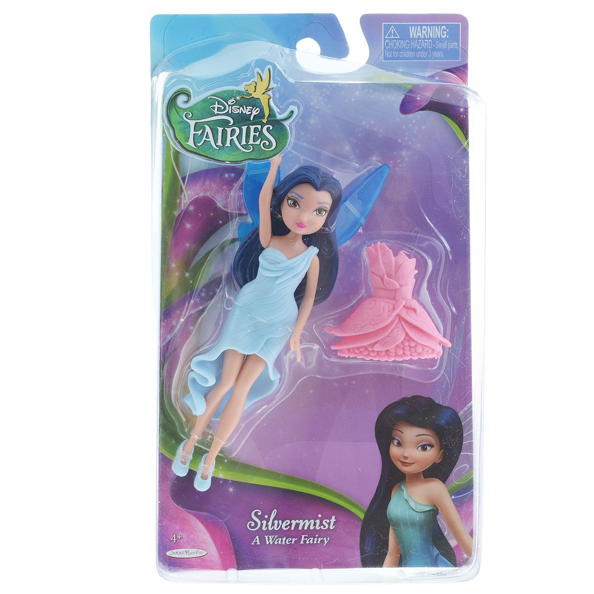 Кукла Disney Fairies Silvermist, с дополнительным платьем, 13 см663210_SilvermistКукла Disney Fairies Silvermist поможет вашей малышке окунуться в сказочный мир. Куколка выполнена в виде феечки. Фея одета в красивое платье и балетки. Так же у куклы имеются крылышки, с которыми она может парить в воздухе. В комплекте - второе сменное платье. Ручки, ножки и голова куколки подвижны. Игры с куклой способствуют эмоциональному развитию ребенка, а также помогают формировать воображение и художественный вкус. Ваша малышка с удовольствием будет играть с этой куколкой, проигрывая сюжеты из мультфильма или придумывая различные истории.