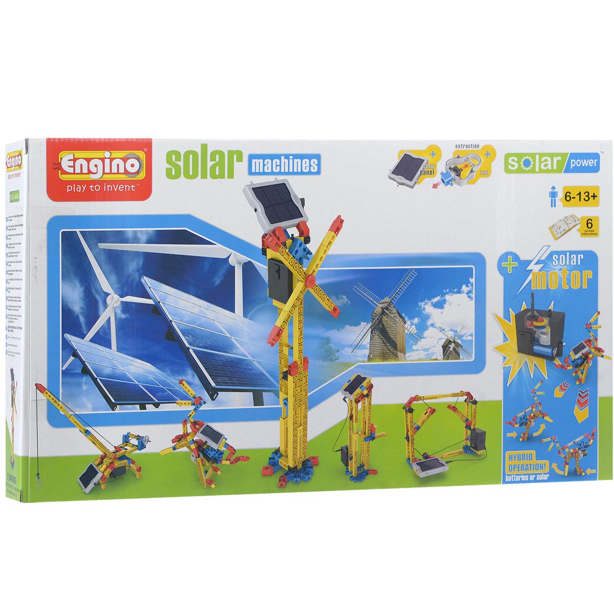 Engino Конструктор MachinesS10С помощью гибридного конструктора Engino Machines ваш ребенок сможет собрать один из 6 вариантов движущихся моделей, работающих как от обычных батареек, так и от солнечной энергии. Комплект включает 115 элементов конструктора, в том числе солнечную батарею, электродвигатель, 4 резиновых покрышки, инструмент для моментального разъединения мелких деталей, а также красочную схематичную инструкцию по сборке. Модели можно собрать по прилагаемой инструкции или сконструировать свои, подключив воображение. Игры с конструктором помогут ребенку развить воображение, внимательность, пространственное мышление и творческие способности. Необходимо докупить 2 батарейки напряжением 1,5V типа ААА/LR03 (не входят в комплект).