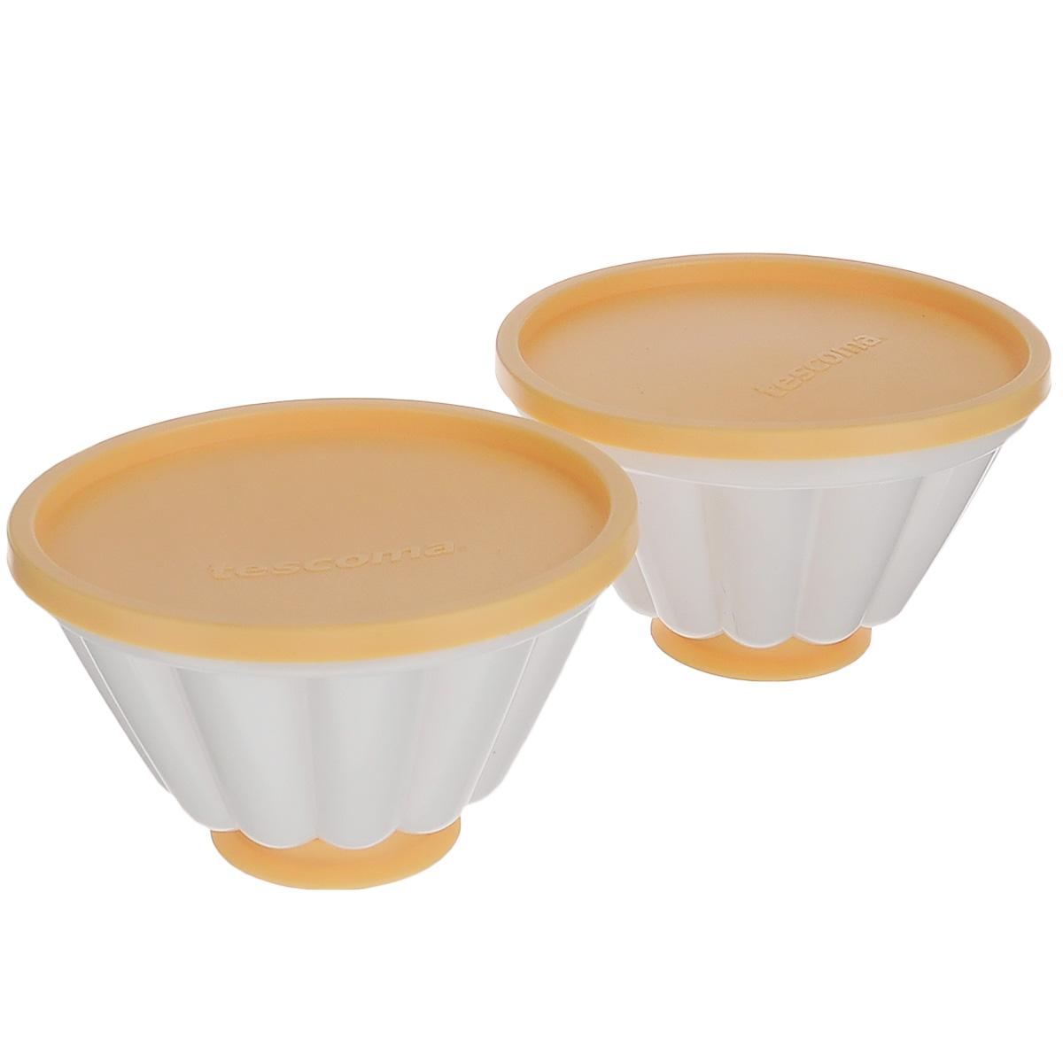 Набор форм для пудинга Tescoma Delicia с крышками, диаметр 11 см, 2 шт630593Набор Tescoma Delicia, изготовленный из высококачественного прочного пластика, состоит из двух форм для пудинга. Формы оснащены рельефной поверхностью, крышками и фигурными основаниями в виде сердца и звезды. Изделия отлично подходят для приготовления заварных кремов, десертов, творожных пудингов, фруктовых желе и других блюд. Можно мыть в посудомоечной машине. Диаметр формы: 11 см. Высота формы (без учета крышки): 6,5 см.