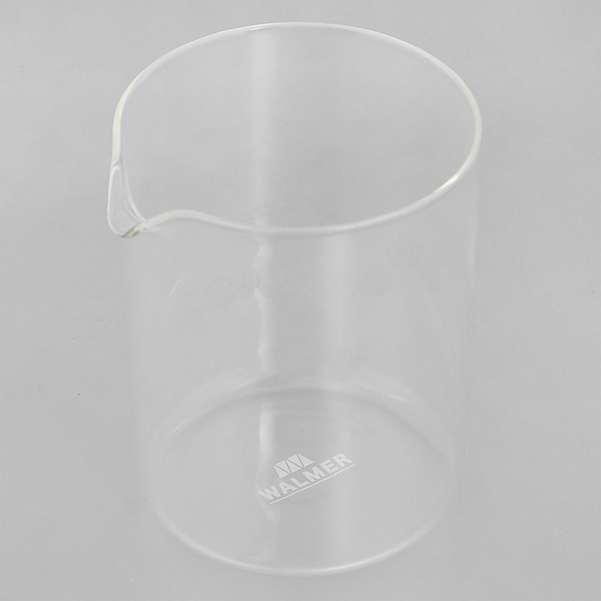 Колба для кофейников Walmer, 500 млW0400105Колба Walmer, изготовленная из высококачественного прозрачного стекла, предназначена для кофейников и френч-прессов. Изделие прекрасно подойдет для замены старой разбитой колбы. Это сосуд, который напрямую контактирует с напитком, поэтому он должен быть выполнен из качественных материалов. Изделие выдерживает высокие температуры и не мутнеет при многократном мытье. Данная колба прослужит вам надежно и долго. Можно мыть в посудомоечной машине. Диаметр: 9,5 см. Высота: 12,5 см. Объем: 500 мл.