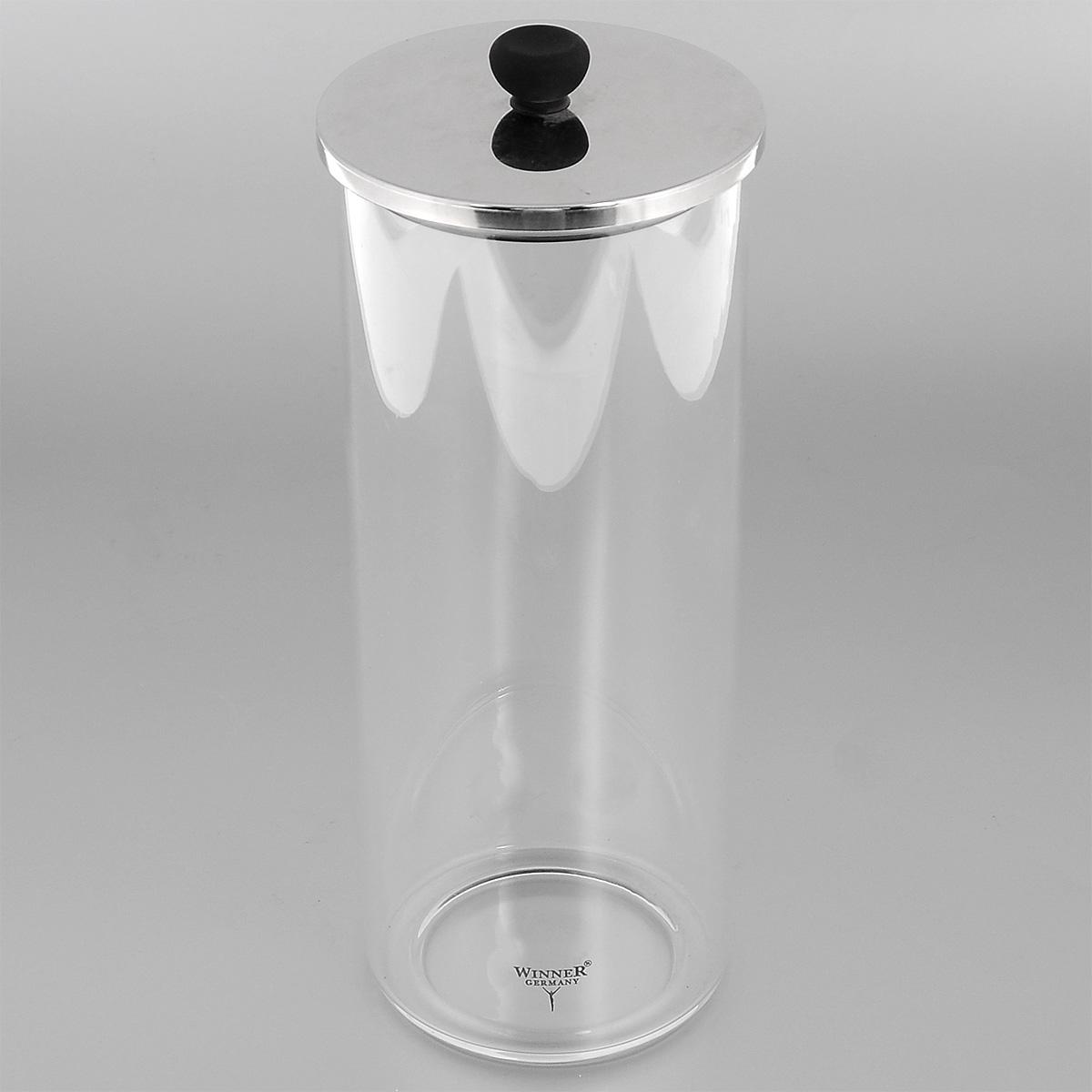 Контейнер для сыпучих продуктов Winner, 1,2 лWR-6905Контейнер Winner, выполненный из высококачественного стекла, станет незаменимым помощником на кухне. В нем будет удобно хранить разнообразные сыпучие продукты, такие как кофе, крупы, макароны или специи. Контейнер снабжен герметичной крышкой из нержавеющей стали с силиконовым уплотнителем, благодаря чему продукты в нем дольше останутся свежими. Контейнер Winner станет достойным дополнением к кухонному инвентарю. Диаметр: 9,5 см. Высота (без учета крышки): 22 см. Объем: 1,2 л.