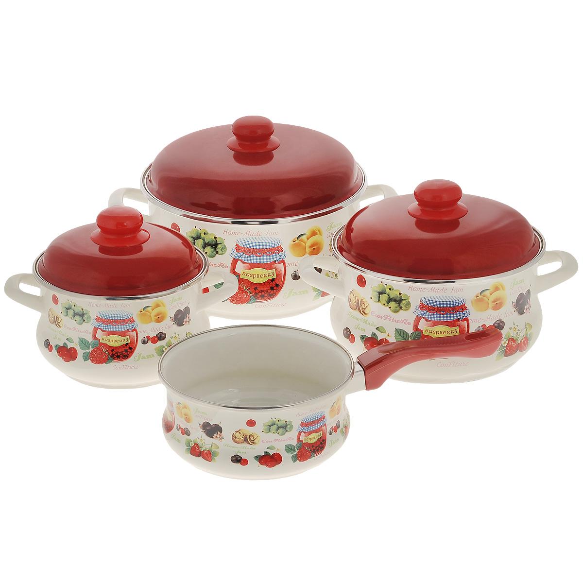 """Набор эмалированной посуды Metrot """"Варенье"""", цвет: белый, красный, 6 предметов + ПОДАРОК: Ковш эмалированный Metrot """"Варенье"""", цвет"""
