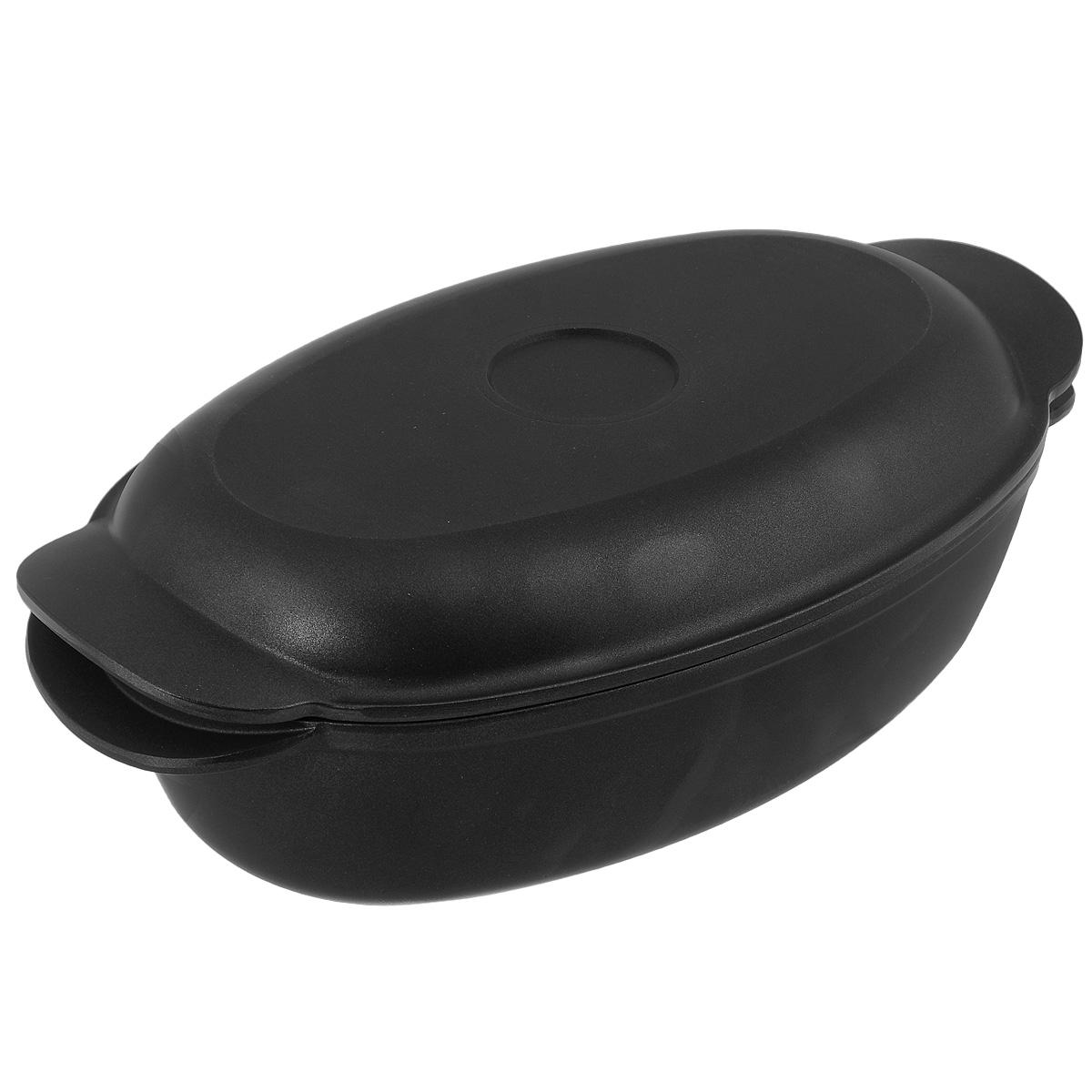 Утятница литая Нева посуда, с крышкой-сковородой, с антипригарным покрытием, цвет: черный, 3 л6730Утятница Нева посуда изготовлена из литого алюминия с антипригарным покрытием. Утятница отличается многофункциональностью. Благодаря особой конструкции корпуса в ней замечательно готовить томленые блюда. Крышку утятницы можно использовать как сковороду. Преимущества утятницы Нева посуда: - равномерно нагревается, долго удерживает тепло, создавая эффект томления, как в чугунной посуде; - сохраняет вкусовые качества и полезные свойства продуктов; - не подвержена деформации; - легко моется; - антипригарное покрытие на водной основе позволяет готовить с минимальным количеством масла. Подходит для газовой, электрической и стеклокерамической плитам, для духового шкафа. Можно мыть в посудомоечной машине. Объем: 3 литра. Размер утятницы: 31 см х 20 см. Высота стенки: 8,5 см. Размер крышки: 30 см х 19 см. Высота стенки: 3 см.