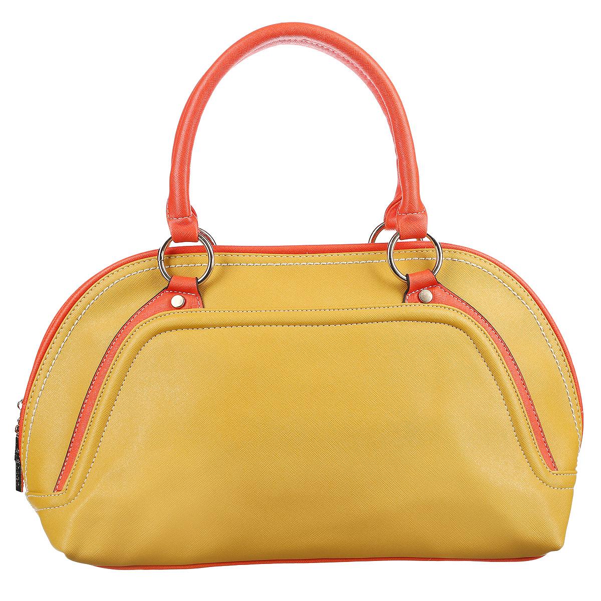 Сумка женская Leighton, цвет: желтый, оранжевый. 90468-3769/19/3769/18 жел90468-3769/19/3769/18 желОригинальная женская сумка Leighton выполнена из высококачественной искусственной кожи. Сумка имеет одно большое отделение и закрывается на застежку-молнию с двумя бегунками. Внутри вшитый карман на молнии, накладной карман на застежке-молнии, два накладных кармана для мелочей и мобильного телефона. На внешней стороне сумки расположен дополнительный карман на застежке-молнии. Сумка оснащена двумя удобными ручками и жестким основанием. Классическое цветовое сочетание, стильный декор и модный дизайн сумочки Leighton - прекрасное дополнение к гардеробу модницы.