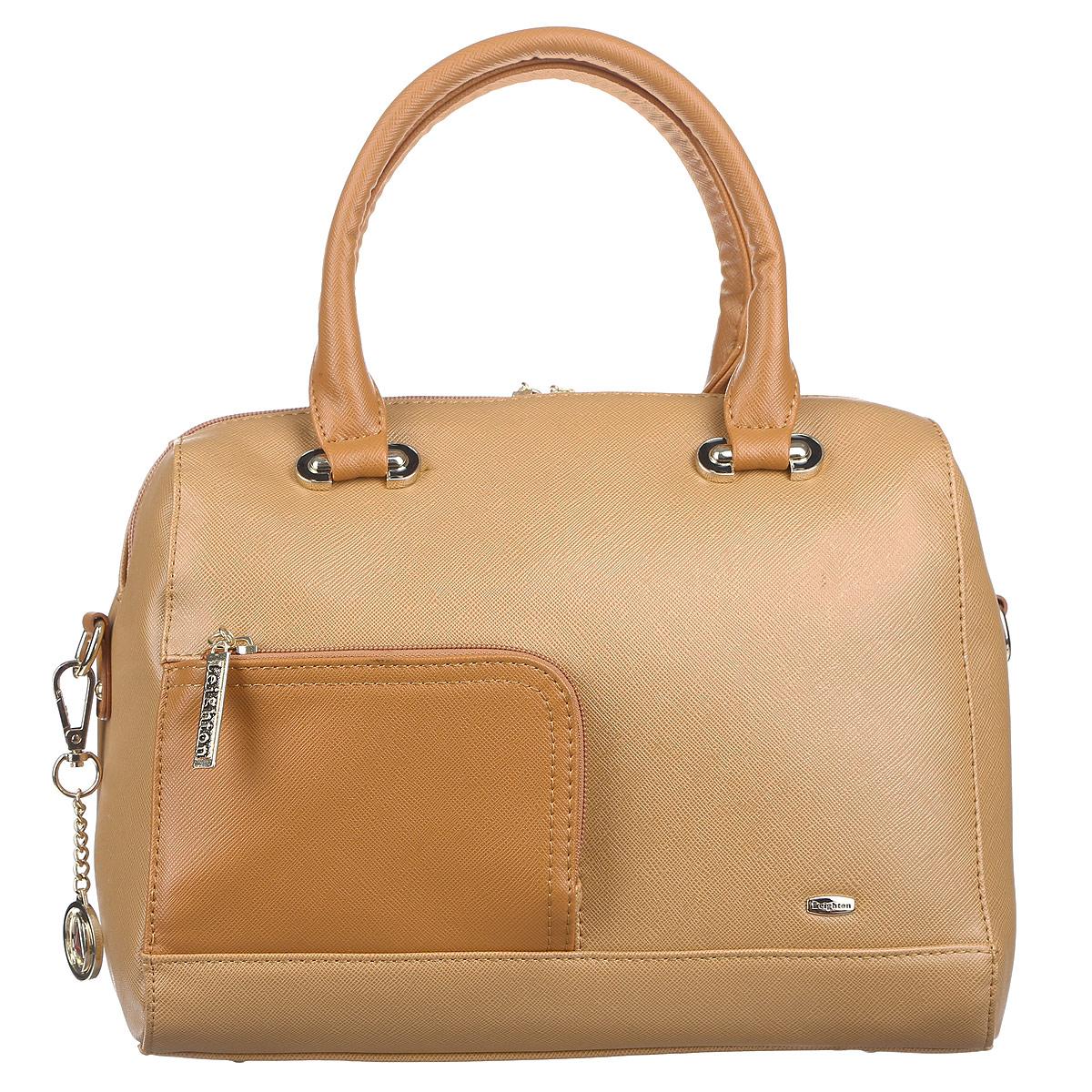 Сумка женская Leighton, цвет: бежевый. 82653-1186/907/80682653-1186/907/806Оригинальная женская сумка Leighton выполнена из высококачественной искусственной кожи. Сумка имеет одно большое отделение и закрывается на застежку-молнию с двумя бегунками. Внутри вшитый карман на молнии, накладной карман на застежке-молнии, два накладных кармана для мелочей и мобильного телефона. На внешней стороне сумки расположены два дополнительных кармана на застежке-молнии. Сумка украшена брелоком в виде логотипа фирмы. Сумка оснащена двумя удобными ручками, съемным плечевым регулируемым ремнем и жестким основанием с четырьмя небольшими ножками. Классическое цветовое сочетание, стильный декор и модный дизайн сумочки Leighton - прекрасное дополнение к гардеробу модницы.