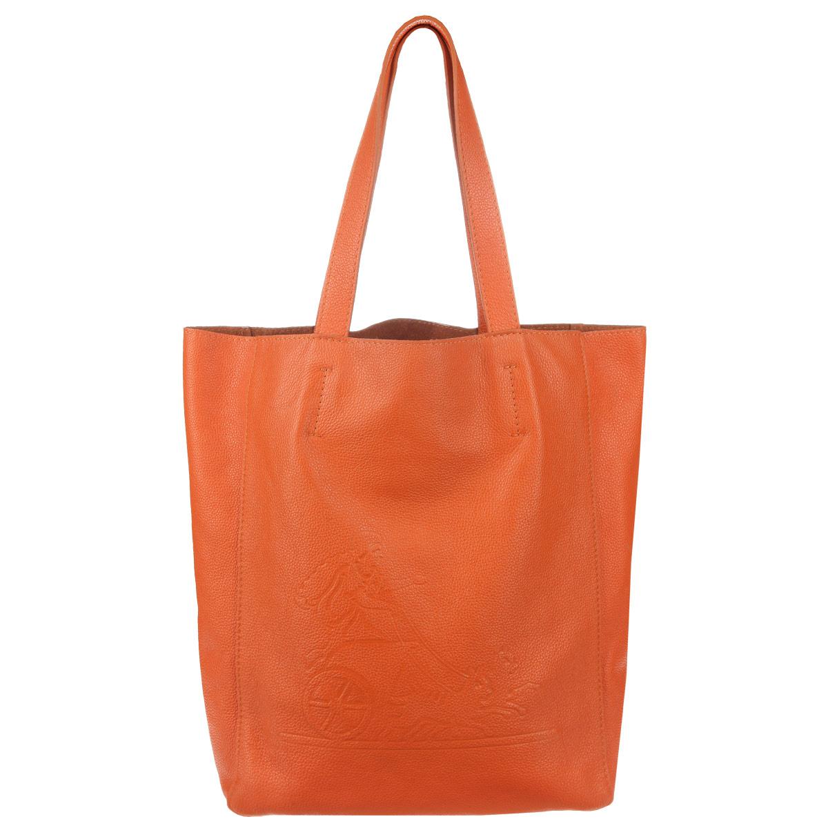 Сумка женская Frija, цвет: оранжевый. 21-0200-1321-0200-13Стильная и удобная женская сумка Frija выполнена из мягкой натуральной кожи с фактурной поверхностью. Лицевая сторона изделия оформлена оригинальным тиснением в виде логотипа бренда. Сумка имеет одно вместительное отделение, дополненное накладным карманом на застежке-молнии. Изюминка модели - текстильный вкладыш в главном отделении, который крепится к корпусу сумки при помощи кнопок, закрывается на удобную застежку-молнию. Внутри вкладыша - врезной карман на застежке-молнии. Сумка оснащена двумя удобными ручками, позволяющими носить её на плече. Изделие упаковано в фирменный чехол. Сумка Frija - это стильный аксессуар, который подчеркнет вашу изысканность и индивидуальность и сделает ваш образ завершенным.