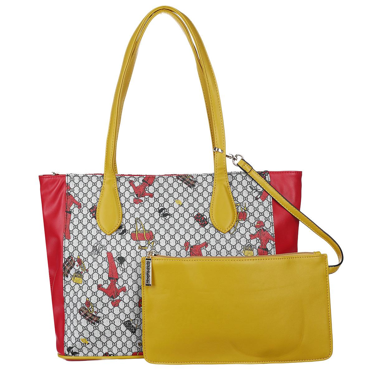 Сумка женская Leighton, цвет: красный, желтый. 570173-7027/1/257/39/257/570173-7027/1/257/39/257/Стильная женская сумка Leighton выполнена из высококачественной искусственной кожи с отделкой контрастного цвета. Сумка имеет одно вместительное отделение, закрывающееся на застежку-молнию. Внутри располагается вшитый карман на застежке-молнии, образующий дополнительное малое отделение, а также два открытых кармана для мелочей и один прорезной карман на молнии. С внешней стороны на задней стенке расположен карман на молнии. Сумка оснащена двумя ручками. В комплекте плечевой ремень. К сумке дополнительно прилагается клатч, который, при необходимости, пристегивается на карабин. Фурнитура - золотистого цвета. Сумка - это стильный аксессуар, который подчеркнет вашу индивидуальность и сделает ваш образ завершенным. Классическое цветовое сочетание, стильный декор, модный дизайн - прекрасное дополнение к гардеробу модницы.