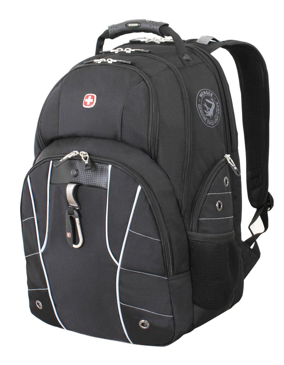 Рюкзак городской Wenger, цвет: черный, серебристый, 34 см х 18 см х 47 см, 29 л6939204408Высококачественный и стильный, надежный и удобный, а главное прочный рюкзак Wenger. Благодаря многофункциональности данный рюкзак позволяет удобно и легко укладывать свои вещи. Особенности рюкзака: 2 внешних боковых кармана на молнии с вентиляцией. 2 внешних кармана на молнии. 2 внешних сетчатых кармана для бутылок с водой. Большое основное отделение. Внешний карабин. Внутренний карабин для ключей. Возможность крепления на чемодане. Вставка из искусственной кожи. Отделение для 17 ноутбука с системой ScanSmart. Карман с мягкими стенками для планшетного компьютера шириной 18 см. Карман-органайзер для мелких предметов. Металлические застежки молний с пластиковыми вставками. Петля для очков. Регулируемые плечевые ремни. Ручка с прочным кожухом для переноски. Внутренний сетчатый карман на молнии для хранения аксессуаров ноутбука. Эргономичная спинка с системой циркуляции воздуха...