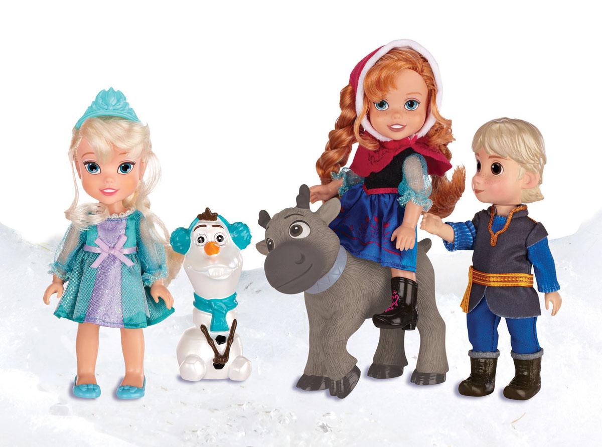 Disney Princess Игровой набор с мини-куклами Холодное cердце310310Игровой набор Disney Princess Холодное Сердце обязательно понравится вашей дочурке. Набор включает 5 главных героев, выполненных по мотивам диснеевского мультфильма Холодное сердце: Эльза, Анна, Кристоф, снеговик Олаф и олень Свен. Фигурки выполнены по детальной схожести с персонажами мультфильма, даже одеты в характерные для них наряды, изображают героев, как они выглядели в детстве. Эльза одета в красивое платье мятного цвета, украшенное блестками и бантиком, на ножках туфельки, а на голове диадема; светлые волосы завязаны в длинную косу. На Анне надето синее платье, накидка с капюшоном, отделанная блестками и белой опушкой, черные сапожки, на голове розовая диадема; рыжие волосы завязаны в две длинные косички. Кристоф одет в теплую тунику, синие штаны, рубашку и зеленые сапоги. Ручки, ножки и голова всех кукол кроме оленя и снеговика подвижны. Такой набор позволит вашему ребенку воспроизвести эпизоды из любимого мультика, а также придумать свои. Порадуйте свою...