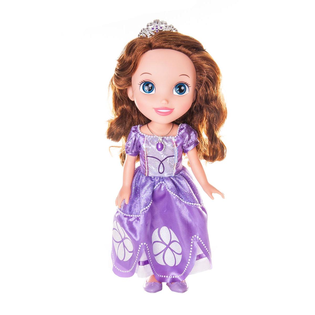Кукла Disney Sofia the First, c аксессуарами, 36 см931210Кукла Disney Sofia the First - прекрасная принцесса, которая обязательно понравится вашей дочурке. Туловище куклы выполнено из высококачественного пластика; голова, ручки и ножки подвижны. К кукле прилагаются расческа, зеркальце, ожерелье, браслет и шкатулка для хранения ее украшений. Принцесса одета в красивое платье, точь-в-точь как на героине из мультфильма. На ножках туфельки. Кукла имеет длинные шелковистые волосы, которые можно заплетать в различные прически. На голове - королевская тиара. Главная особенность куклы - большие глаза, которые блестят как настоящие. Глазки изготовлены по запатентованной технологии Royal Reflection. Такая куколка очарует вас и вашу дочурку с первого взгляда! Ваша малышка с удовольствием будет играть с принцессой, проигрывая сюжеты из мультфильма или придумывая различные истории. Порадуйте свою дочурку таким замечательным подарком!