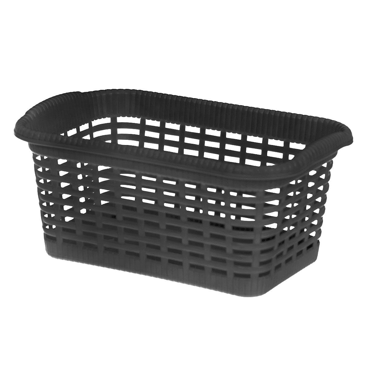 Корзина хозяйственная Gensini, цвет: черный, 29 x 18,5 x 13,5 см3301_черныйУниверсальная корзина Gensini, выполненная из пластика, предназначена для хранения мелочей в ванной, на кухне, даче или гараже. Позволяет хранить мелкие вещи, исключая возможность их потери. Легкая воздушная корзина выполнена под плетенку и оснащена жесткой кромкой. Размер: 29 см x 18,5 см x 13,5 см. Объем: 7 л.