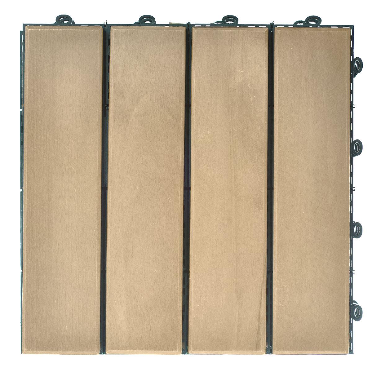 Покрытие Konex Декинг, цвет: бук, 30 см х 30, 4 штПД-БПокрытие Konex Декинг состоит из 4 секций, изготовленных из высококачественного дерева, основа выполнена из полипропилена. Покрытие предназначено для создания дополнительного (отделочного) слоя пола в различных помещениях бытового и хозяйственного назначения (коридоры, веранды, сауны и бани, ванные комнаты, балконы), а также для быстрого обустройства открытых площадок и дорожек (спортивные и детские площадки, зоны отдыха, садовые дорожки, террасы, палубы, причалы, бассейны) на подготовленных площадях. Размер секции: 30 см х 30 см х 3 см. Количество секций: 4 шт.