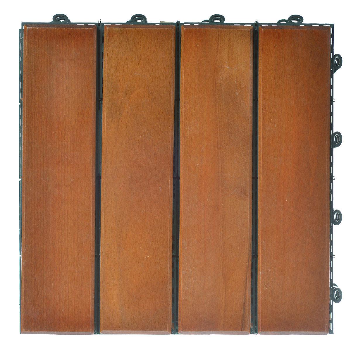 Покрытие Konex Декинг, цвет: дуб, 30 см х 30, 4 шт. ПД-ДПД-ДПокрытие Konex Декинг состоит из 4 секций, изготовленных из высококачественного дерева, основа выполнена из полипропилена. Покрытие предназначено для создания дополнительного (отделочного) слоя пола в различных помещениях бытового и хозяйственного назначения (коридоры, веранды, сауны и бани, ванные комнаты, балконы), а также для быстрого обустройства открытых площадок и дорожек (спортивные и детские площадки, зоны отдыха, садовые дорожки, террасы, палубы, причалы, бассейны) на подготовленных площадях. Размер секции: 30 см х 30 см х 3 см. Количество секций: 4 шт.