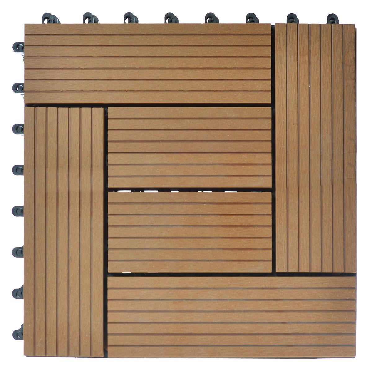 Покрытие Konex Декинг, цвет: бук, 30 х 30, 6 шт. ПД-Б6ПД-Б6Покрытие Konex Декинг состоит из 6 секций, изготовленных из высококачественного дерева, основа выполнена из полипропилена. Покрытие предназначено для создания дополнительного (отделочного) слоя пола в различных помещениях бытового и хозяйственного назначения (коридоры, веранды, сауны и бани, ванные комнаты, балконы), а также для быстрого обустройства открытых площадок и дорожек (спортивные и детские площадки, зоны отдыха, садовые дорожки, террасы, палубы, причалы, бассейны) на подготовленных площадях. Размер секции: 30 см х 30 см х 3 см. Количество секций: 6 шт.