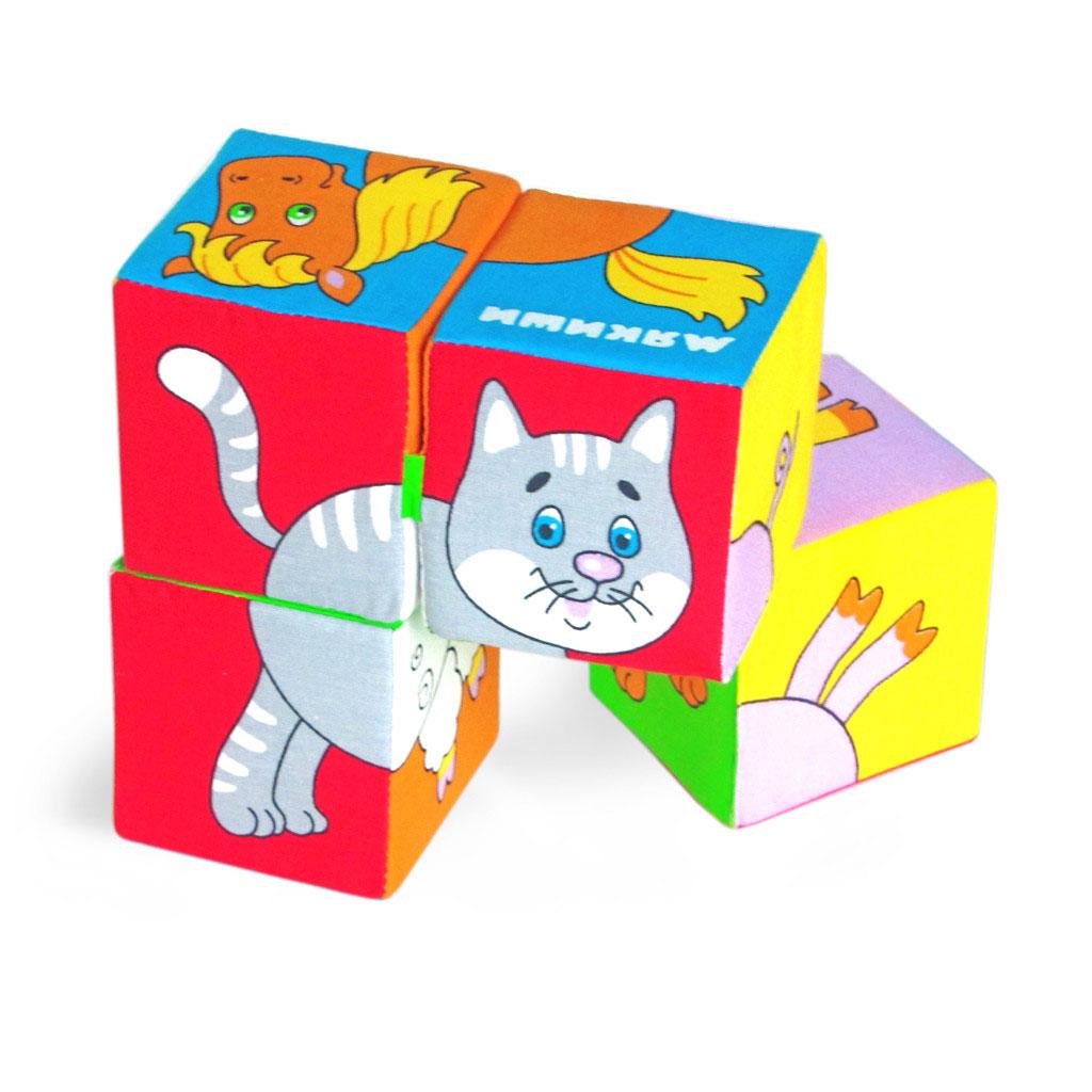 Игрушка кубики Собери картинку (Домашние животные)209Кубики Собери картинку (Домашние животные). 4 ярких кубика, из которых можно собрать 6 изображений домашних животных: коровы, свиньи, лошади, барашка, щенка и котенка. В процессе игры ребенок знакомится с любимыми животными: как они называются, что едят, как они разговаривают. Увлекательное занятие с кубиками поможет развитию у ребенка внимания, терпения, усидчивости. Яркая окраска поможет познакомить ребенка с основными цветами. Кубики между собой соединены тканевой перемычкой, которая не даст им рассыпаться и в то же время можно сложить любую картинку. Мягкие кубики, которые можно сжимать и разжимать ручками, помогут развитию моторики рук ребенка. Эти кубики понравятся вашему ребенку. Кубики изготовлены из высококачественной ткани с мягким наполнителем. Поэтому они абсолютно безопасны даже для самых маленьких детей. Изготовлено из гипоаллергенных материалов.