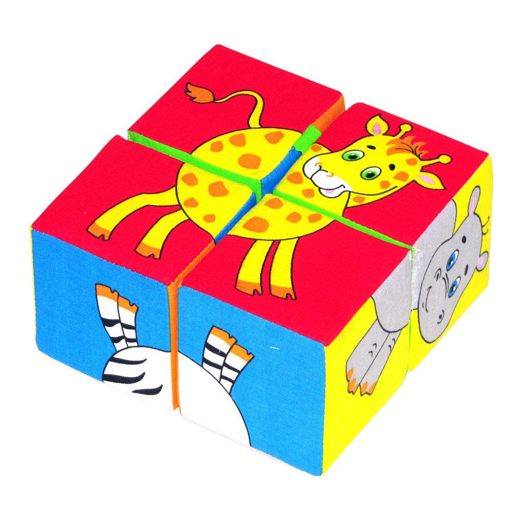 Игрушка кубики Собери картинку (Животные африки)210Кубики Собери картинку (Животные африки). 4 ярких кубика, из которых можно собрать 6 изображений африканских животных: зебры, слона, жирафа, льва,бегемота, мартышки. В процессе игры ребенок знакомится с любимыми животными: как они называются, что едят, как они разговаривают. Увлекательное занятие с кубиками поможет развитию у ребенка внимания, терпения, усидчивости. Яркая окраска поможет познакомить ребенка с основными цветами. Кубики между собой соединены тканевой перемычкой, которая не даст им рассыпаться и в то же время можно сложить любую картинку. Мягкие кубики, которые можно сжимать и разжимать ручками, помогут развитию моторики рук ребенка. Эти кубики понравятся вашему ребенку. Кубики изготовлены из высококачественной ткани с мягким наполнителем. Поэтому они абсолютно безопасны даже для самых маленьких детей. Изготовлено из гипоаллергенных материалов.