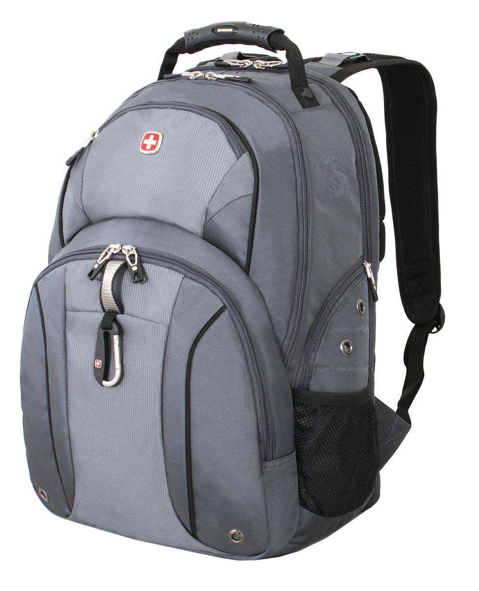 Рюкзак городской Wenger, цвет: серый, серебристый, 34 см x 16 см x 48 см, 26 л3253424408Городской рюкзак Wenger выполнен из прочного полиэстера. Он имеет отделение для ноутбука с мягкими стенками, подходит для большинства ноутбуков с диагональю экрана до 15. Карман для планшетного компьютера с мягкими стенками обеспечивает безопасную и удобную переноску. Карман-органайзер для мелких предметов с ключницей, кармашками для ручек, мобильного телефона и карты памяти. Стягивающие боковые ремни позволяют регулировать объем рюкзака, а также ужимать багаж. Эргономичные плечевые ремни анатомической формы с пропускающей воздух подкладкой обеспечивают удобную переноску. Спинка имеет специальную рельефную анатомическую поверхность и оснащена системой циркуляции воздуха Airflow. Карман из специальной эластичной сетки подходит для бутылок любого размера. Особенности рюкзака: 2 внешних боковых кармана на молнии с вентиляцией 2 внешних кармана на молнии 2 внешних сетчатых кармана для бутылок с водой Большое основное отделение Внешний карабин ...