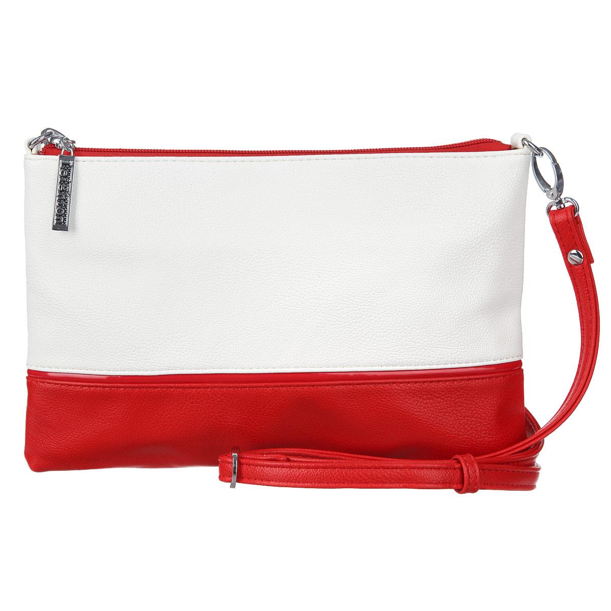 Сумка-клатч женская Leighton, цвет: белый, красный. 1065110651-1070/1001/1070/601/Яркая женская сумка-клатч Leighton выполнена из высококачественной искусственной кожи в двух цветах и оформлена стильным фирменным брелоком. Изделие закрывается на застежку-молнию. Внутри одно отделение, разделенное карманом-средником на застежке-молнии, также есть два накладных кармашка для мелочей и мобильного телефона и врезной карман на застежке-молнии. На обратной стороне сумки расположен врезной карман на молнии. В комплекте - съемный плечевой ремешок регулируемой длины и чехол для хранения. Яркий дизайн сумки, сочетающий классические формы с оригинальным оформлением, позволит вам подчеркнуть свою индивидуальность и сделает ваш образ изысканным и завершенным.