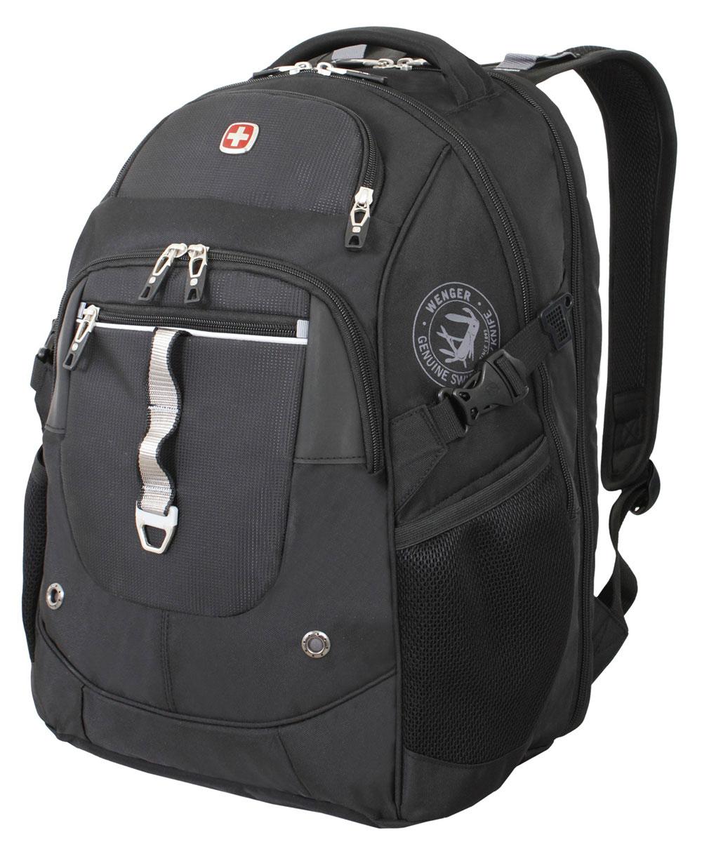 Рюкзак городской Wenger, цвет: черный, серебристый, 34 см x 22 см x 46 см, 34 л6968204408Высококачественный и стильный, надежный и удобный, а главное прочный рюкзак Wenger. Благодаря многофункциональности данный рюкзак позволяет удобно и легко укладывать свои вещи. Особенности рюкзака: 2 внешних кармана на молнии. 2 внешних сетчатых кармана для бутылок с водой. Большое основное отделение. Внешний карман для очечника на молнии. Внешнее металлическое кольцо. Внутренний карабин для ключей. Возможность крепления на чемодане. Карман-органайзер для мелких предметов. Карман для планшетного компьютера с диагональю до 38 см. Металлические застежки молний с пластиковыми вставками. Мягкая ручка для переноски. Отделение на липучке для ноутбука 15 с системой ScanSmart. Петля для очков. Регулируемые плечевые ремни Внутренний сетчатый карман на молнии для хранения аксессуаров ноутбука. Стягивающие ремни. Эргономичная спинка с системой циркуляции воздуха Airflow.