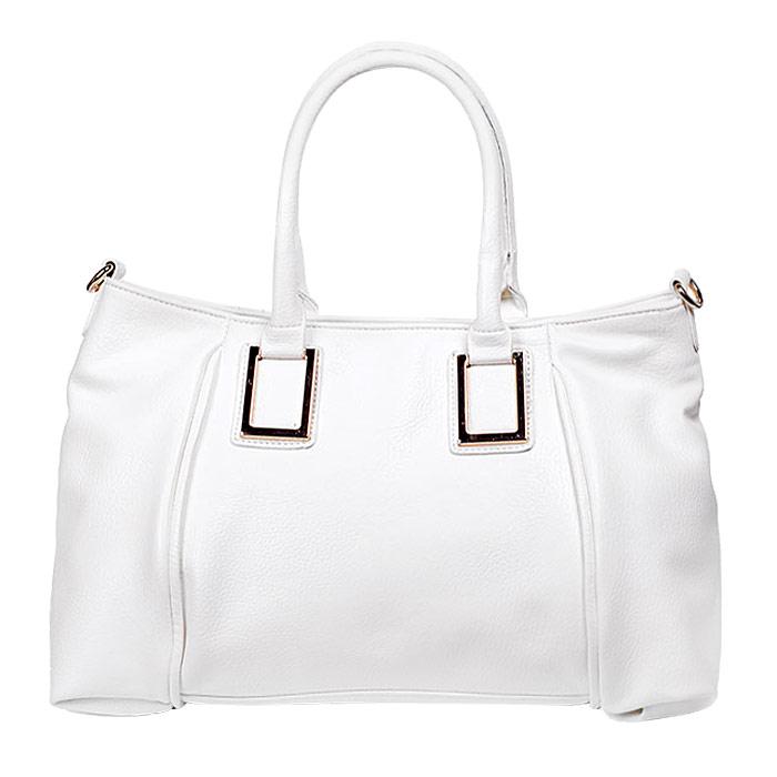 Сумка женская Baggini, цвет: белый. 29550/3029550/30Стильная женская сумка Baggini изготовлена из искусственной кожи. Модель закрывается на застежку-молнию. Внутри - одно отделение, разделенное средником с застежкой-молнией, также есть два накладных открытых кармашка и втачной карман на застежке-молнии. С внешней задней стороны - втачной карман на застежке-молнии. Дно дополнено металлическими ножками, защищающими изделие от повреждений. Сумка оснащена двумя удобными ручками и съемным наплечным ремнем, длина которого регулируется. Модная и элегантная сумка Baggini подчеркнет ваш яркий стиль и сделает образ завершенным.