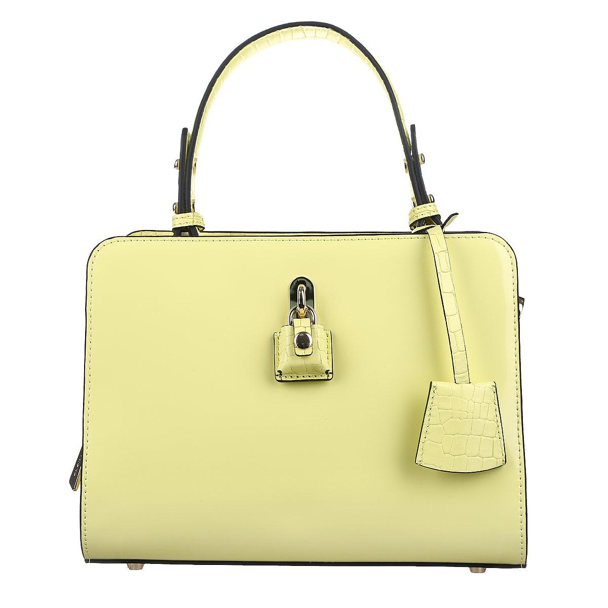 Сумка женская Eleganzza, цвет: пастельно-желтый. ZQ-37150AZQ-37150A_пастельно-желтыйИзысканная женская сумка Eleganzza выполнена из натуральной кожи. Сумка закрывается на две металлические молнии. Внутри два отделения. В первом отделении есть два накладных кармашка для мелочей и телефона. Во втором отделении врезной карман на застежке-молнии. Задняя сторона дополнена плоским врезным карманом на застежке-молнии. Сумка украшена декоративной подвеской на кожаном шнурке. Две ручки сумки крепятся на металлическую фурнитуру золотого цвета. Дно сумки защищено металлическими ножками, обеспечивающими дополнительную устойчивость. В комплекте чехол для хранения. Блестящий дизайн сумки, сочетающий классические формы с оригинальным оформлением, позволит вам подчеркнуть свою индивидуальность и сделает ваш образ изысканным и завершенным.