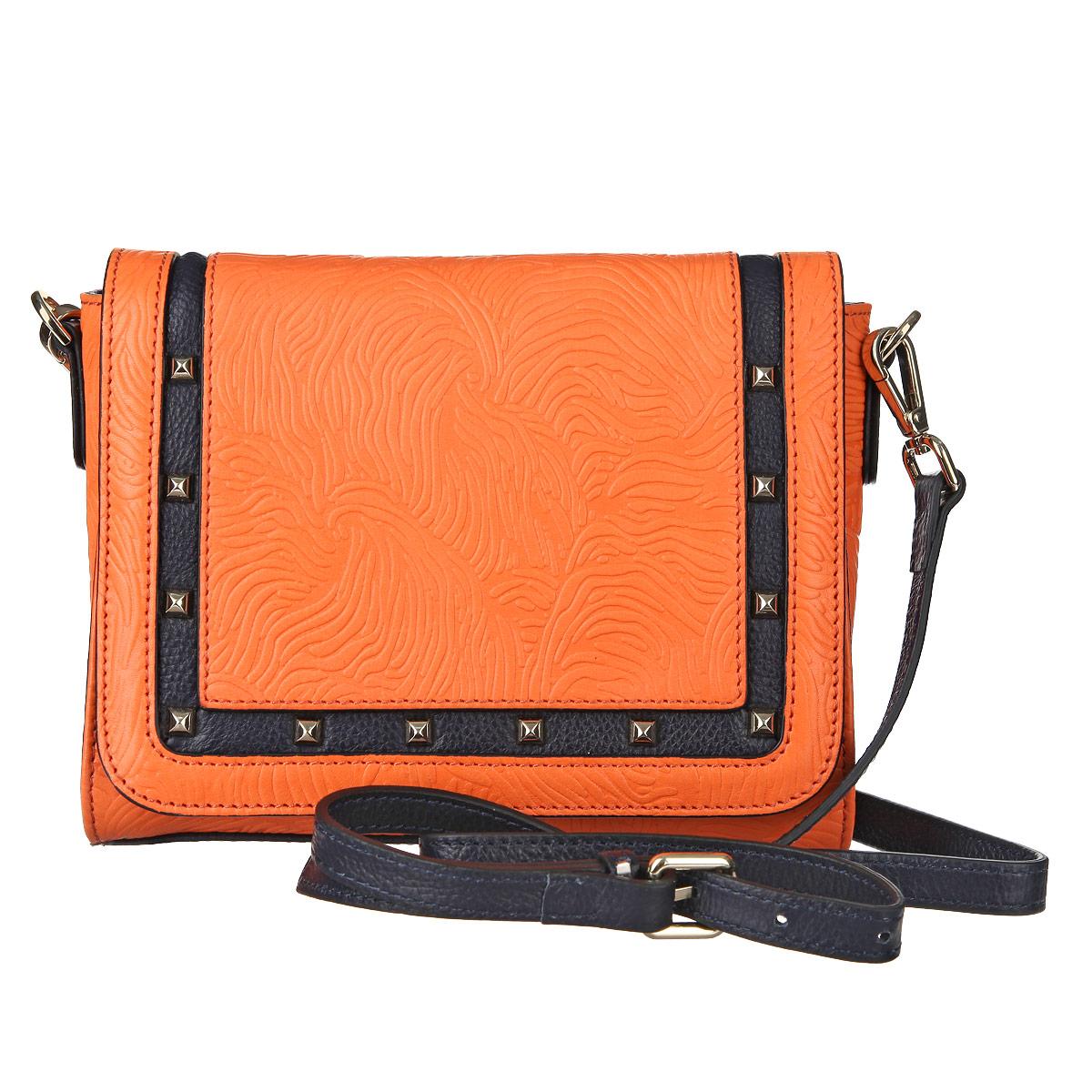 Сумка женская Eleganzza, цвет: оранжевый. ZK21-1029ZK21-1029Женская миниатюрная сумка  Eleganzza  выполнена из натуральной кожи с декоративным тиснением. Сумка украшена вставкой из черной кожи, декорированной металлическими элементами. Сумка состоит из одного отделения, закрывающегося на клапан с магнитной застежкой. В отделении есть два накладных кармашка для мелочей и телефона и врезной карман на застежке-молнии. Сумка имеет съемный плечевой ремешок. В комплекте чехол для хранения. Сумка - это стильный аксессуар, который подчеркнет вашу изысканность и индивидуальность и сделает ваш образ завершенным.