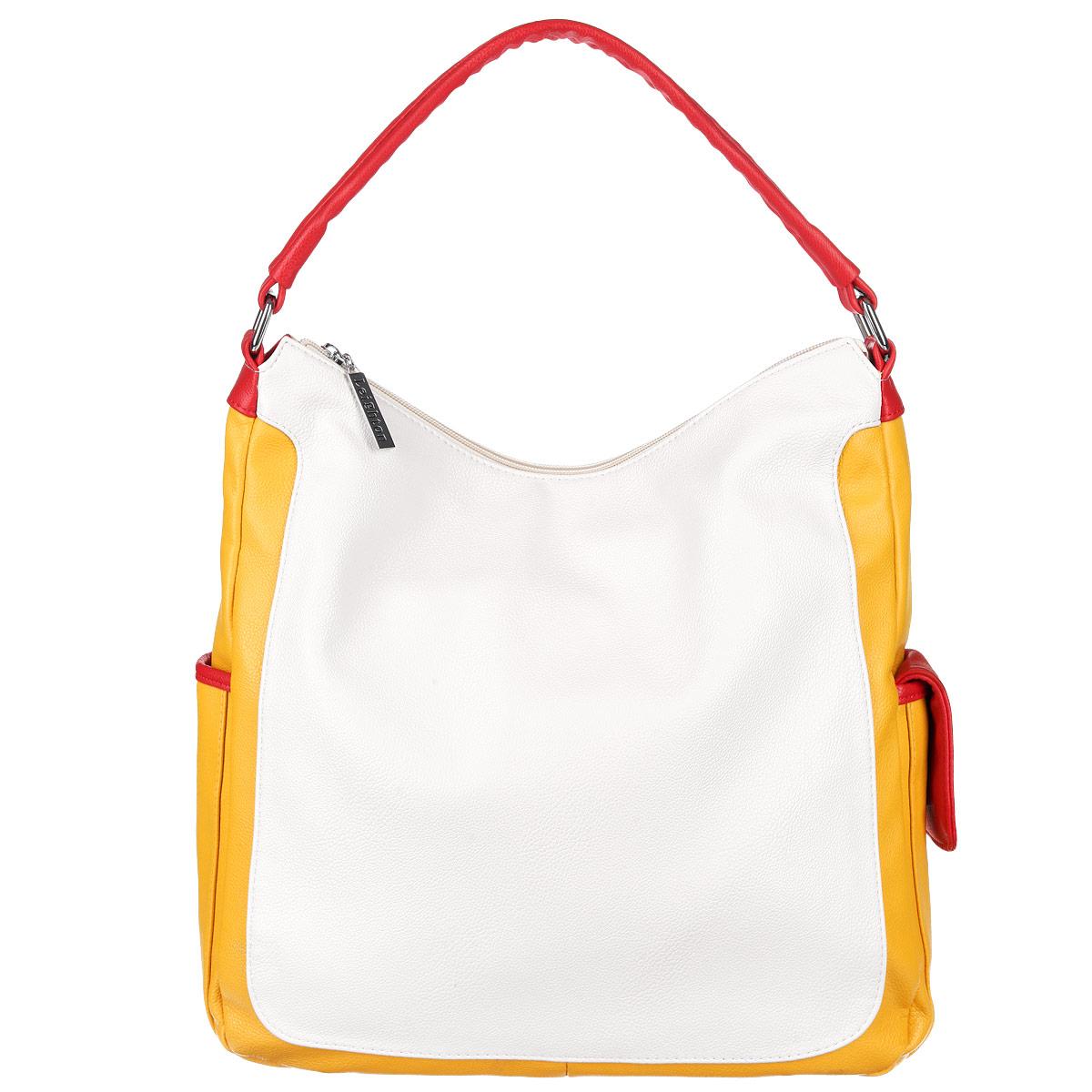 Сумка женская Leighton, цвет: белый, желтый. 10421-1070/922/1070/808/110421-1070/922/1070/808/1Стильная женская сумка Leighton выполнена из высококачественной искусственной кожи контрастных цветов. Сумка состоит из одного отделения и закрывается на молнию. Сумка разделена карманом-средником. Внутри отделения есть два накладных кармашка для мелочей и телефона и врезной карман на застежке-молнии. По бокам сумки расположены накладные кармашки, один на магнитной кнопке, другой закрывается на клапан. Задняя сторона дополнена плоским врезным карманом на застежке-молнии. В комплекте чехол для хранения. Сумка - это стильный аксессуар, который подчеркнет вашу индивидуальность и сделает ваш образ завершенным. Классическое цветовое сочетание, стильный декор, модный дизайн - прекрасное дополнение к гардеробу модницы.