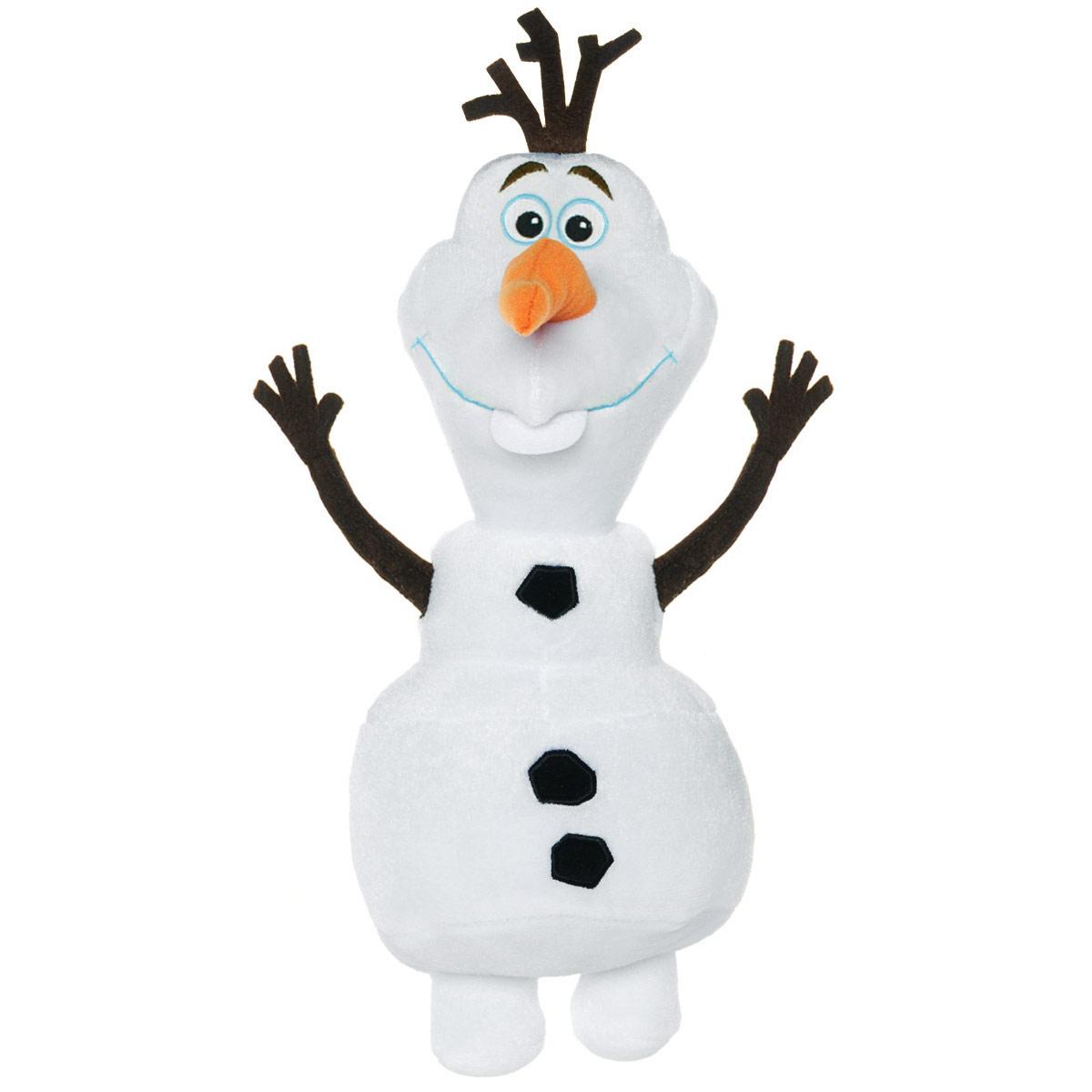 Disney Frozen Мягкая озвученная игрушка Снеговик Олаф 39,5 см74861пцМягкая игрушка Disney Frozen Снеговик Олаф станет любимой игрушкой вашего ребенка. Она выполнена в виде Олафа - добродушного снеговика из мультфильма Холодное Сердце от компании Дисней. Игрушка удивительно приятна на ощупь. Она изготовлена из мягкого текстильного материала, глазки вышиты нитками, ручки и макушка снеговика выполнены из фетра. Если нажать на снеговика, он произнесет одну из фраз: Здравствуйте, я - Олаф, люблю жаркие объятия. Ух ты! Класс! Я не чувствую ног! Я не чувствую своих ног. Чудесная мягкая игрушка принесет радость и подарит своему обладателю мгновения нежных объятий и приятных воспоминаний. Олаф забавно хихикает и дрожит. Рекомендуется докупить 3 батарейки напряжением 1,5V типа AA (товар комплектуется демонстрационными).