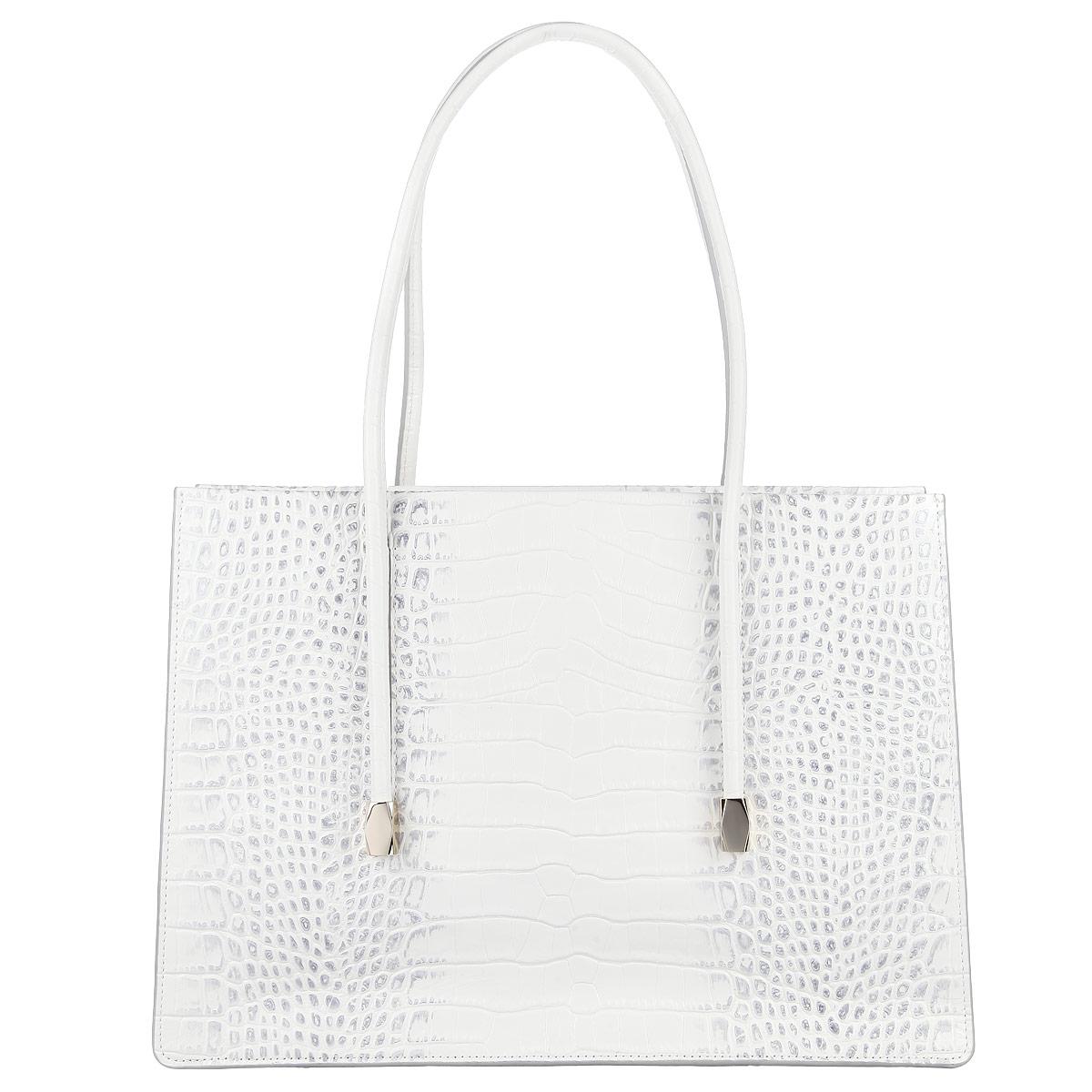 Сумка женская Eleganzza, цвет: белый. ZL-37062AZL-37062AИзысканная женская сумка Eleganzza выполнена из натуральной кожи с декоративным тиснением. Сумка состоит из двух отделений и закрывается молнию. Внутри сумка разделена карманом-средником. В первом отделении есть два накладных кармашка для мелочей и телефона, во втором - врезной карман на застежке-молнии. Ручка сумки крепится на металлическую фурнитуру золотого цвета. В комплекте чехол для хранения. Блестящий дизайн сумки, сочетающий классические формы с оригинальным оформлением, позволит вам подчеркнуть свою индивидуальность и сделает ваш образ изысканным и завершенным.