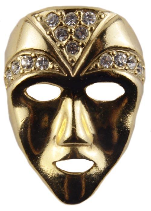 Винтажная брошь Венецианская маска. Ювелирный сплав, кристаллы. Конец XX векаАРТ, BR0002Винтажная брошь Венецианская маска. Ювелирный сплав, кристаллы. Западная Европа, конец ХХ века. Размер броши 3.5 х 2.5. Сохранность хорошая. На оборотной стороне брошь имеет клеймо с серийным номером, что говорит об уникальности броши. Необычная брошь в виде маски из ювелирного сплава прекрасного качества. Поверхность металла гладкая блестящая. Кристаллы великолепной огранки словно бриллиантовое украшение переливаются при попадании на них лучей света. Данное украшение не оставит вас без комплиментов. Брошь станет прекрасным дополнением вашего как дневного, так и вечернего образа.