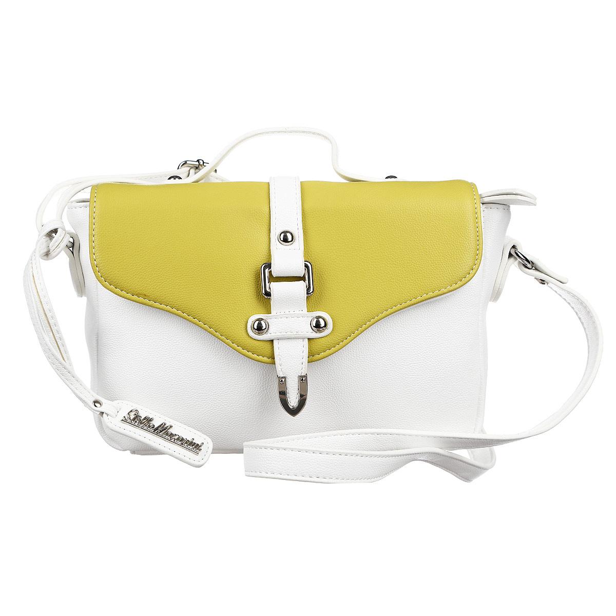 Сумка женская Stella Mazarini, цвет: белый, зеленый. 12-R38550C12-R38550CВместительная сумка, выполненная из высококачественной искусственной кожи. Модель закрывается на молнию, на задней стенке открытый карман, прилагается длинный ремень. Внутри одно основное отделение с большим карманом на молнии, а также внутренние карманы для документов и мобильного телефона, один из которых защищен застежкой на кнопке. Такая сумка позволит вам подчеркнуть свой стиль и особенный статус.