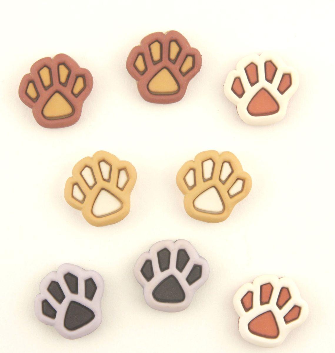 Пуговицы декоративные Dress It Up Pets, 8 шт7705893Набор Dress It Up Pets состоит из 8 декоративных пуговиц, выполненных из пластика в форме следов животных. Такие пуговицы подходят для любых видов творчества: скрапбукинга, декорирования, шитья, изготовления кукол, а также для оформления одежды. С их помощью вы сможете украсить открытку, фотографию, альбом, подарок и другие предметы ручной работы. Пуговицы разных цветов имеют оригинальный и яркий дизайн. Размер элемента: 1,8 см х 1,7 см х 0,5 см.