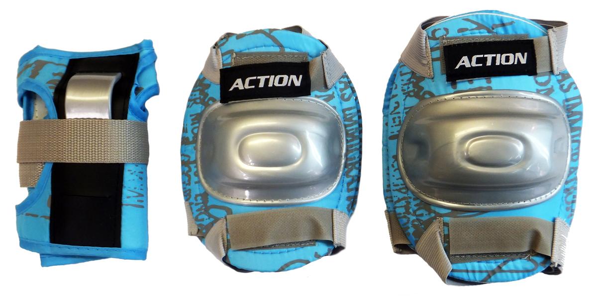 Комплект защиты Action, для катания на роликах, цвет: голубой, серый. Размер M