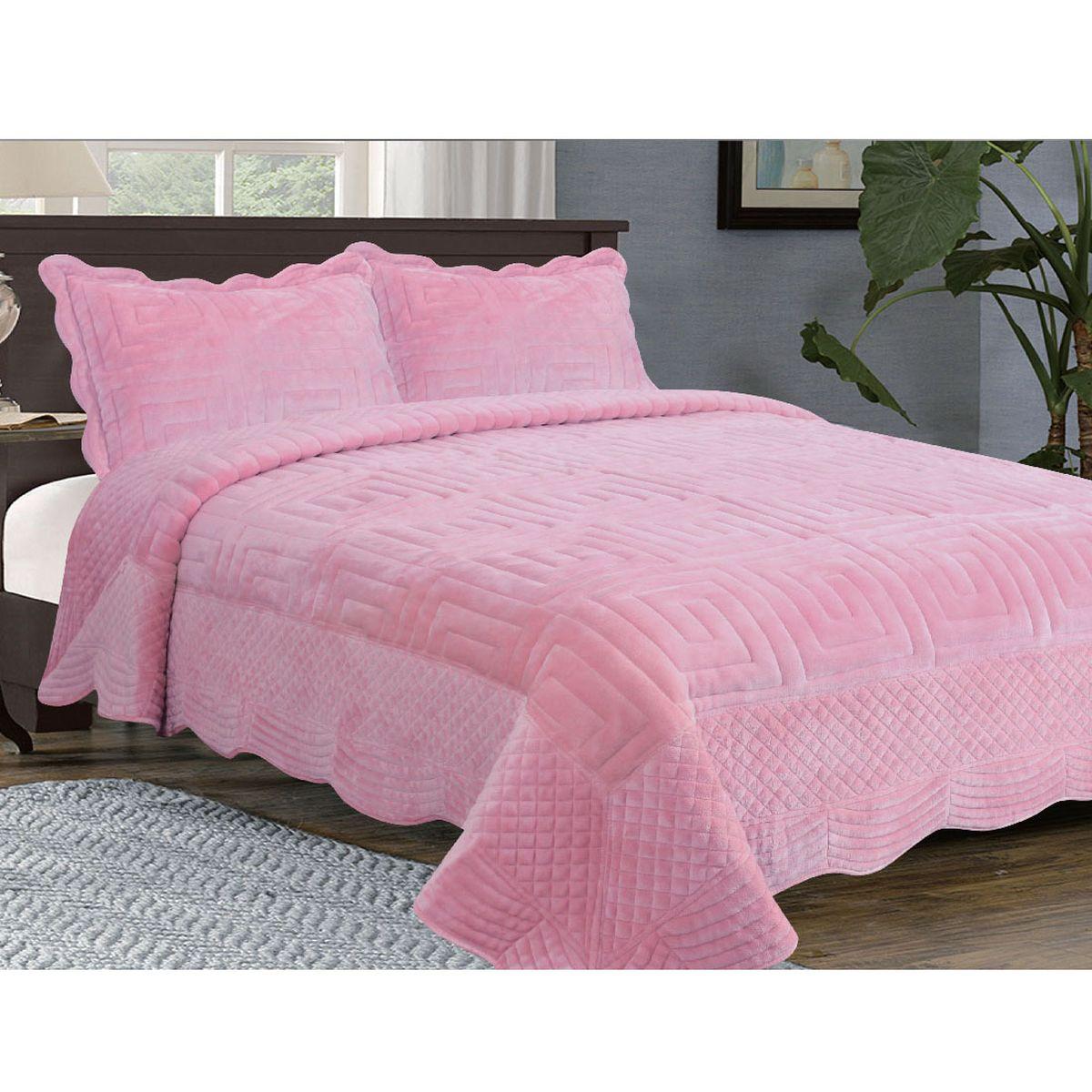 """Комплект для спальни Buenas Noches """"Afini"""": покрывало 230 см х 250 см, 2 наволочки 50 см х 70 см, цвет: розовый"""