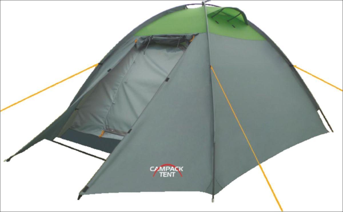 Палатка Campack Tent Rock Explorer 3, цвет: серо-зеленый37647Универсальная купольная палатка Campack Tent Rock Explorer 3 с внешним каркасом для несложных походов и семейного отдыха на природе. Высокопрочное дно изготовлено из армированного полиэтилена, не пропускает влагу и устойчиво к истиранию. Каркас, изготовленный из фибергласса, обеспечивает надежность и устойчивость. Палатка оснащена увеличенными вентиляционными окнами, клапаном от косого дождя и двухслойным входом с цветными молниями. Внешний каркас позволяет быстро установить палатку в сложных погодных условиях. Внутри палатки имеется подвеска для фонаря и карманы для хранения мелочей. Проклеенные швы гарантируют герметичность и надежность в любой ситуации. Материал тента: 190T P. Taffeta PU; Материал дна: Tarpauling; Материал дуг: фибергласс, 7,9 мм.