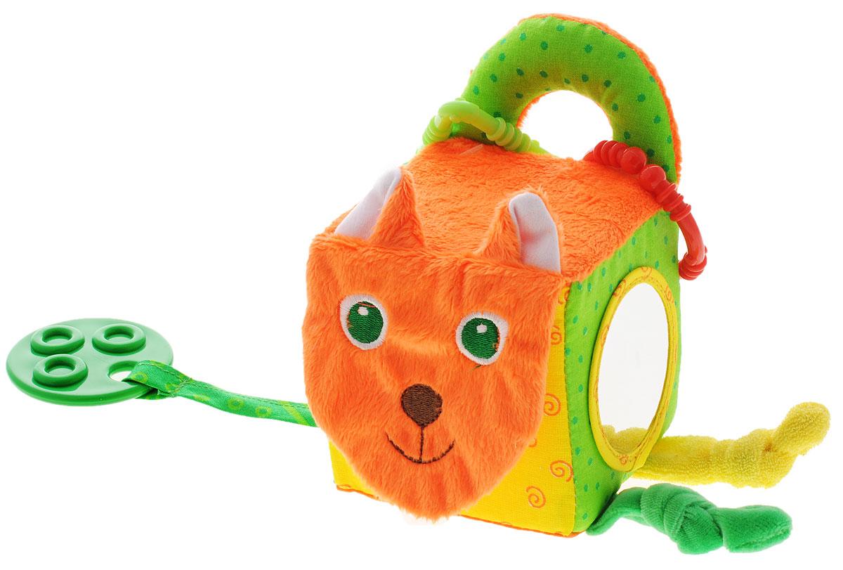Мякиши Мягкая развивающая игрушка Кубик лиса305Мягкая развивающая игрушка Мякиши Кубик лиса не оставит вашего малыша равнодушным и не позволит ему скучать. Игрушка выполнена из текстильного материала различных цветов и фактур в виде кубика с мордочкой милой лисы. Внутри кубика спрятана сфера, гремящая при тряске. Мордочка выполнена из шуршащего материала. По бокам игрушка оснащена карманом-сетка и безопасным зеркальцем. На текстильном шнурке подвешен прорезыватель в виде круга. Два разъемных колечка, позволят наслаждаться игрушкой везде, подвесив ее на коляску, кроватку автокресло. Удачно подобранный размер и цвет развивают мышление, цветовое и слуховое восприятие, координацию движений и совершенствуют моторику ручек малыша.