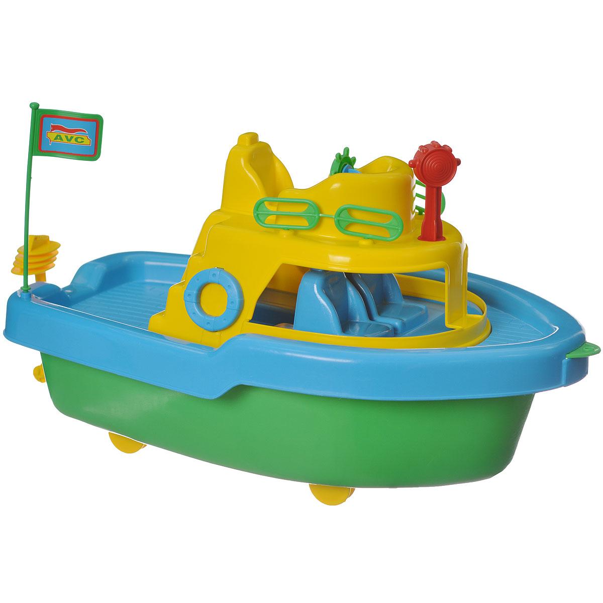AVC Корабль01/5051Игрушка AVC Корабль отлично подойдет ребенку для различных игр. Это игрушка предназначена для самых маленьких - в конструкции отсутствуют острые элементы, способные травмировать малыша. В то же время игрушка имеет достаточно большой размер, крупные детали и элементы, с которыми ребёнку удобно и интересно играть. У данной игрушки устроено все, как у настоящего корабля: каюты с сидениями, палубы, штурвал, капитанский мостик, флажок. Можно взяться за веревочку и, словно сказочный гигант, вести судно за собой по океану. Игрушка прекрасно держится на воде. С ней можно играть даже на суше, под днищем модели расположены 4 пластиковых колеса, которые превосходно крутятся. Винт мотора на корме и штурвал вращаются. Корабль сделан из прочного пластика, который безвреден для ребенка. С такой игрушкой юный мореплаватель сможет прекрасно провести время дома или на улице.