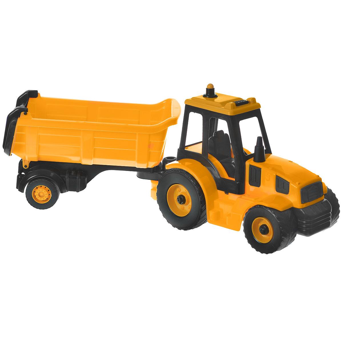 AVC Трактор с прицепом01/5212Игрушка AVC Трактор с прицепом отлично подойдет ребенку для различных игр. Это игрушка, предназначенная для самых маленьких - в конструкции отсутствуют острые элементы, способные травмировать малыша. В то же время игрушка имеет достаточно большой размер, крупные детали и элементы, с которыми ребёнку удобно и интересно играть. Вместительный прицеп трактора отделяется, задний борт откидывается. В кабину без стекол можно посадить одну или несколько небольших игрушек. Большие пластиковые колеса с крупным протектором обеспечивают машинке устойчивость и хорошую проходимость. Игрушка является оптимальным вариантом для перевозки различных грузов (камушки, палочки, песок, игрушки и т.д.). Трактор выполнен из прочного пластика, который позволяет выдерживать большие нагрузки. С такой игрушкой юный строитель сможет прекрасно провести время дома или на улице.