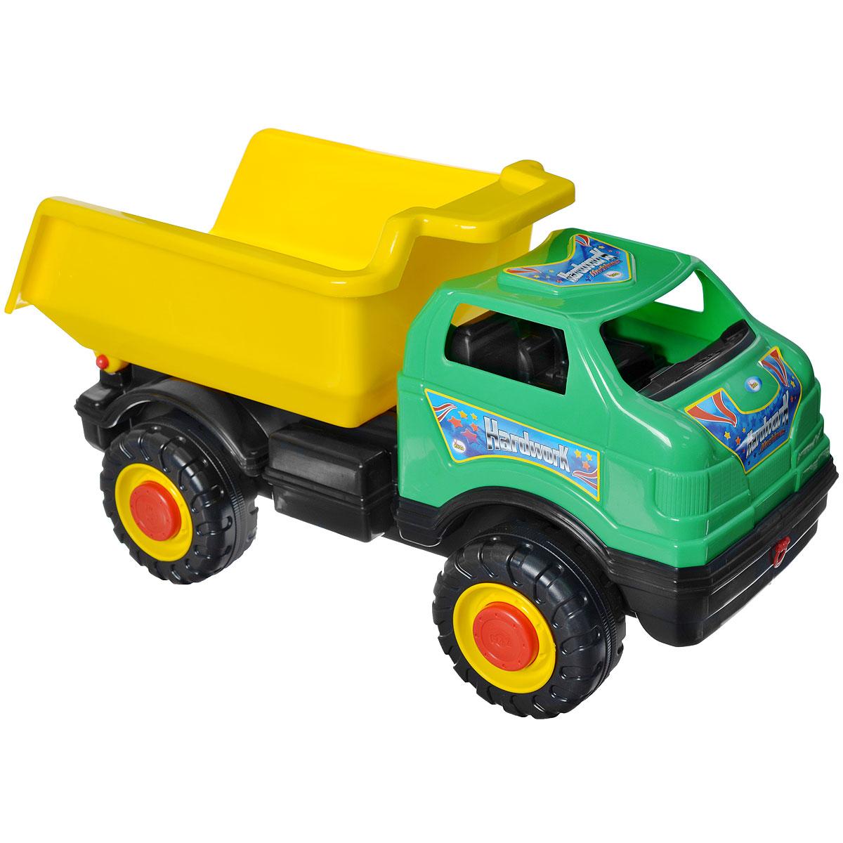 AVC Супергрузовик цвет желтый зеленый01/5151Игрушка AVC Супергрузовик отлично подойдет ребенку для различных игр. Это большая машинка, которая предназначена для самых маленьких - в конструкции отсутствуют острые элементы, способные травмировать малыша. Вместительный кузов машинки поднимается и опускается. В кабину без стекол можно посадить одну или несколько игрушек. Большие пластиковые колеса с крупным протектором обеспечивают машинке устойчивость и хорошую проходимость. Игрушка является оптимальным вариантом для перевозки различных грузов (камушки, палочки, песок, игрушки и т.д.). Грузовик выполнен из прочного пластика, который позволяет выдерживать большие нагрузки. Ваш юный строитель сможет прекрасно провести время дома или на улице, подвозя к месту игрушечной стройки необходимые предметы на этом ярком грузовике.