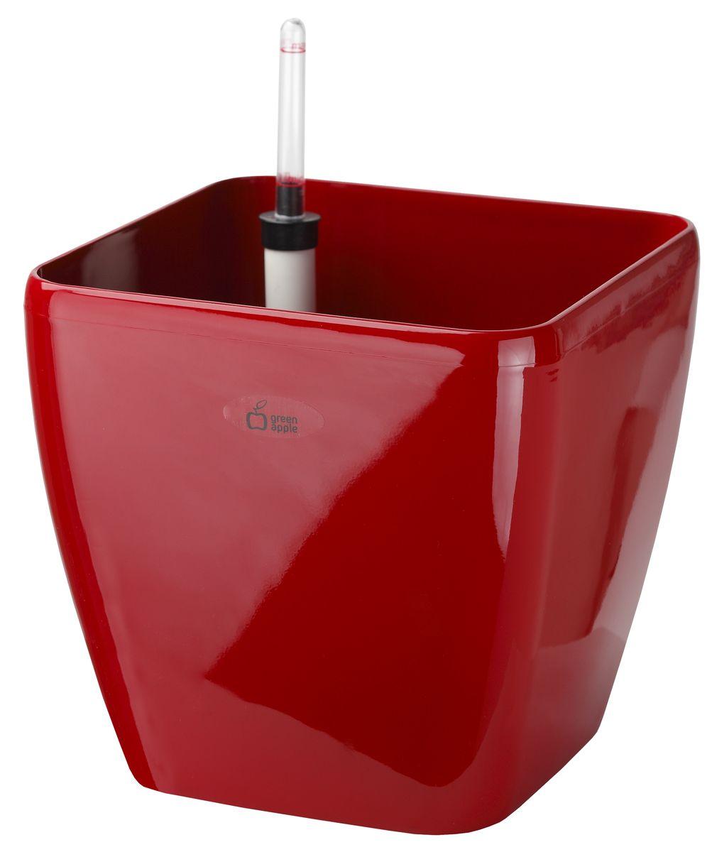 Горшок квадратный Green Apple, с системой автополива, цвет: красный, 18 см х 18 см х 16 смGPS10-11-RКвадратный горшок Green Apple имеет уникальную систему автополива, благодаря которой корневая система растения непрерывно снабжается влагой из резервуара. Уровень воды в резервуаре контролируется с помощью специального индикатора. В зависимости от размера кашпо и растения воды хватает на 2-12 недель.