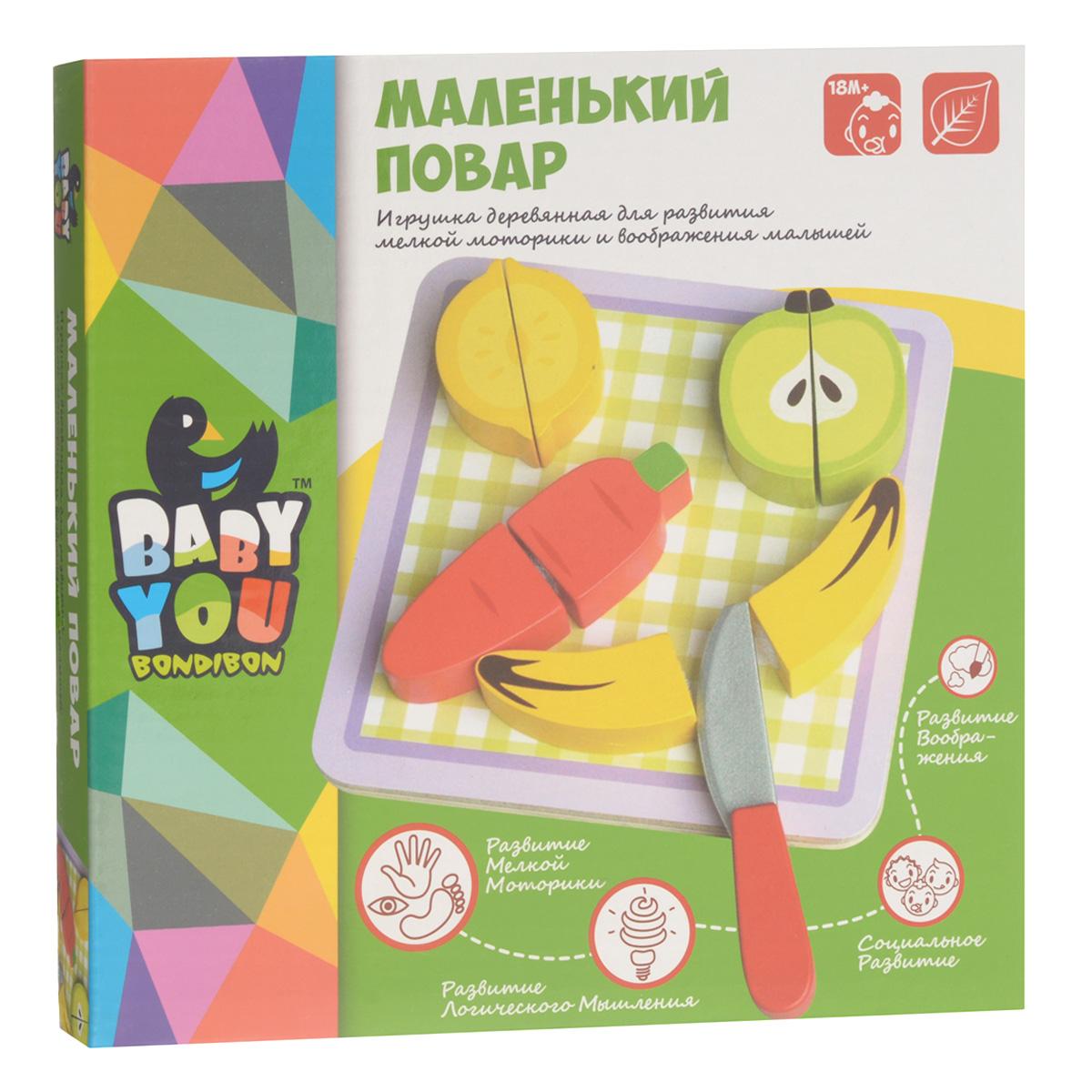 Игровой набор Bondibon Маленький поварВВ1101Игровой набор Bondibon Маленький повар - набор овощей и фруктов, предназначенный для сюжетно-ролевой игры. Половинки овощей и фруктов легко соединяются на липучках и разрезаются деревянным ножом. Мудрые родители выбирают для своих малышей игрушки, которые обучают малыша в процессе увлекательной игры, формируют его внутренний мир и не вредят здоровью. Деревянные развивающие игрушки, детали которых сделаны из различных пород дерева - клена, можжевельника, березы - это не просто яркий предмет, способный надолго увлечь ребенка, но и его первый учитель, рассказывающий о мире на интуитивно понятном крохе языке. Игрушка способствует развитию сенсомоторных навыков, творческого и логического мышления, речи и навыков общения, а также формирует элементарные математические представления.
