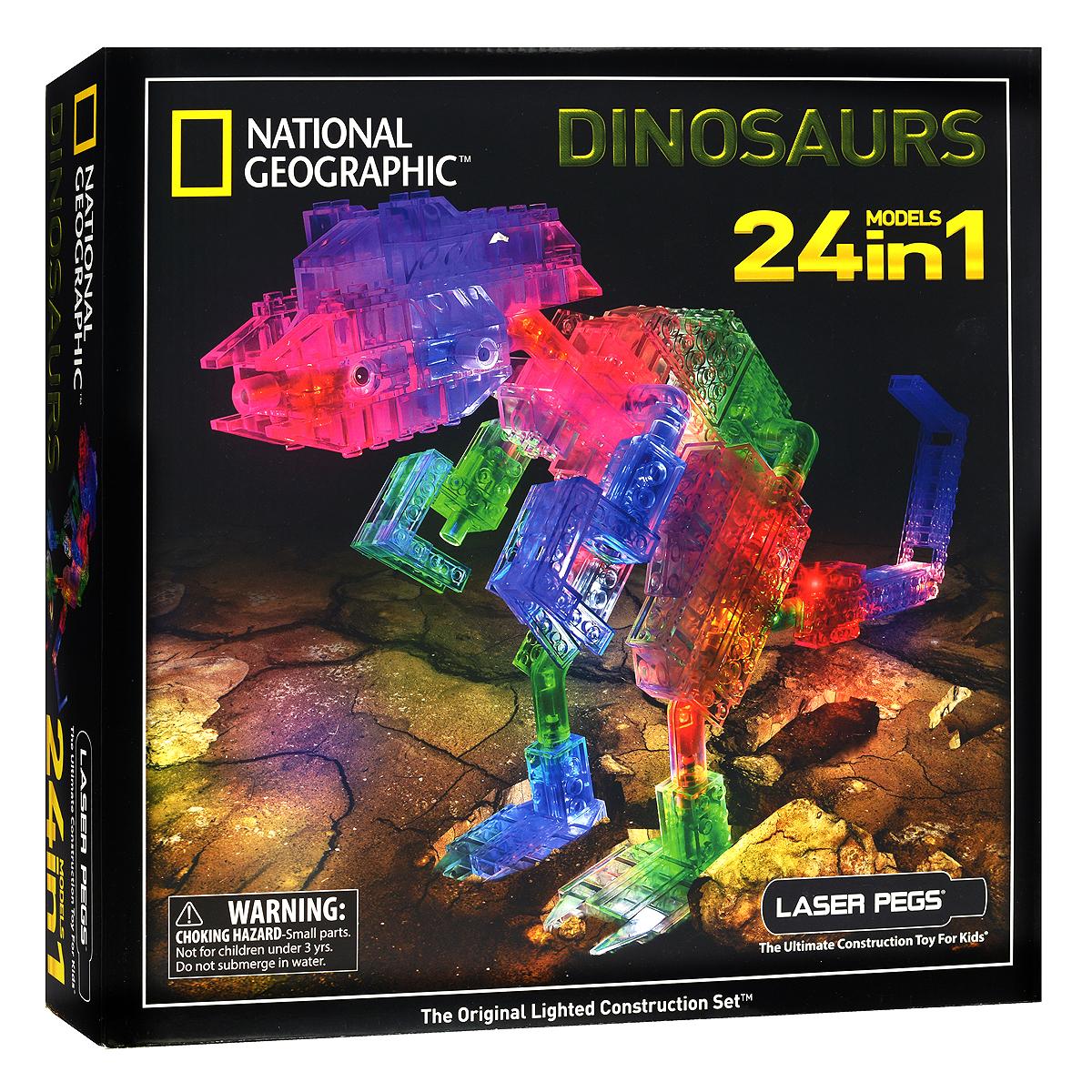 Laser Pegs Конструктор Динозавры 24 в 1NG300Постройте свою неповторимую модель и включите двигатель! Яркий конструктор Laser Pegs Динозавры - отличный подарок для вашего ребенка. С помощью такого конструктора он сможет собрать 24 разные фигурки динозавров! В комплекте вы также найдете базу питания, при включении которой подсвечивается вся построенная конструкция, и схематичную инструкцию по сборке. Соединяйте этот набор с другими конструкторами Laser Pegs Lego или Magformers и стройте без ограничения! Новые виды транспорта, фантастические монстры и волшебные животные - все это становится возможным. Конструктор Laser Pegs Динозавры - это органичное сочетание классики и новых технологий! Этот конструктор придется по душе каждому - одни останутся довольными высоким качеством изделия, вторых порадуют отличные развивающие функции, третьих приведет в восторг оригинальная идея подсветки конструктора! Игры с конструкторами способствуют формированию творческих, пространственных и логических навыков, развивают...