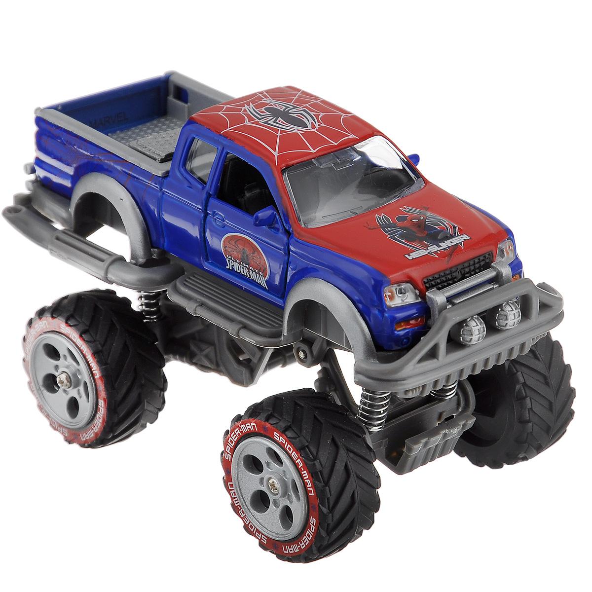 Spider-Man Джип инерционный Великий Человек-ПаукSB-14-03-3Инерционная машинка Spider-Man Великий Человек-Паук привлечет внимание вашего ребенка и не позволит ему скучать. Она выполнена из металла с элементами из пластика и оформлена в стиле Человека-Паука. Двери открываются. У машинки большие колеса и высокая посадка, как у джипа. Шины из плотной резины обеспечивают хорошее сцепление с любой поверхностью пола. Машинка оснащена инерционным механизмом: стоит откатить машинку назад, слегка нажав на крышу, затем отпустить, и она молниеносно поедет вперед. При нажатии на заднюю часть машинки воспроизводятся звуки сирены. С такой машинкой ваш малыш будет играть часами, придумывая различные истории. Порадуйте его таким замечательным подарком! Машинка работает от батареек (товар комплектуется демонстрационными).