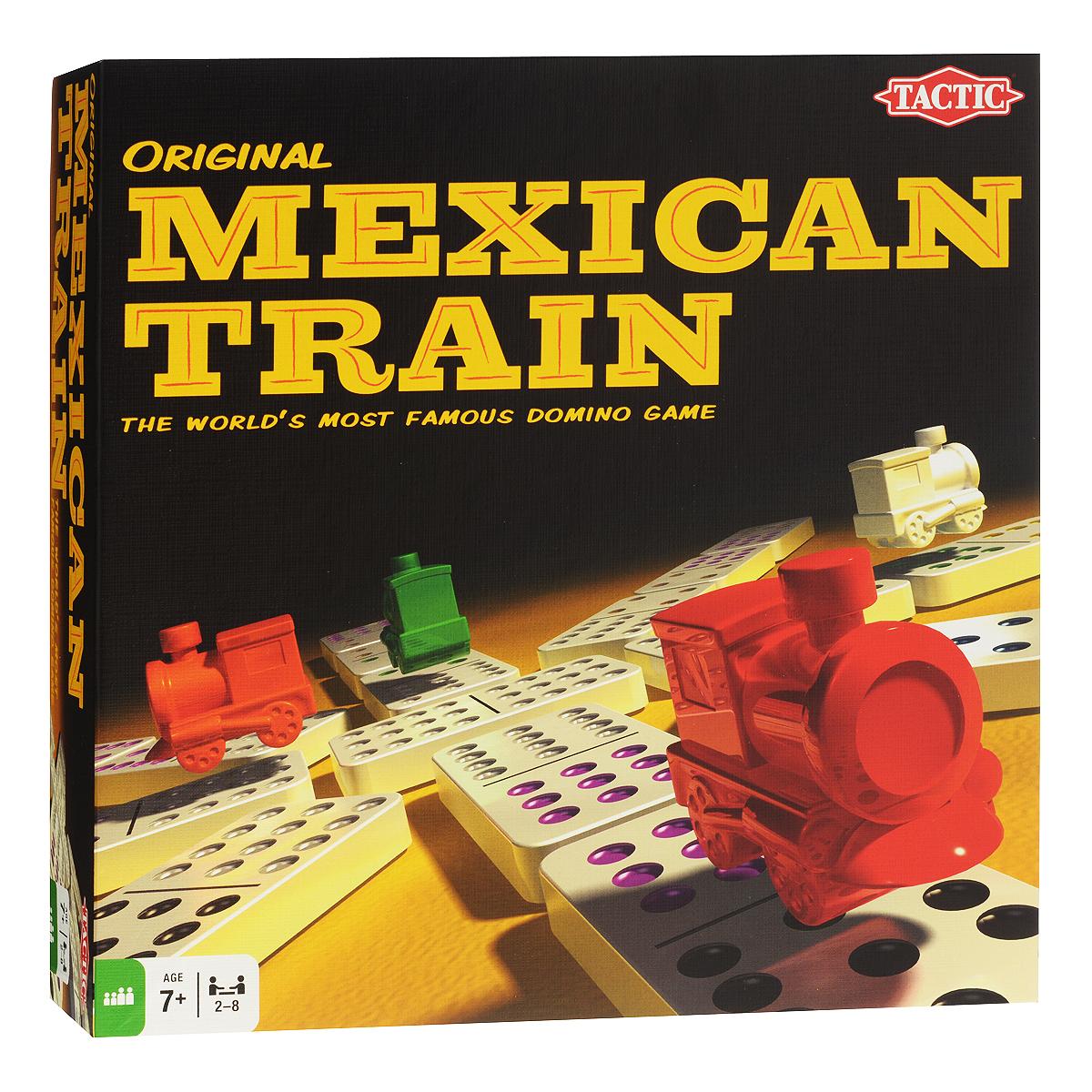 Настольная игра Tactic Games Мексиканский поезд02588TНастольная игра Tactic Games Мексиканский поезд – самая популярная игра на основе домино. Цель игры заключается в том, чтобы первым построить свой Мексиканский поезд. Но чтобы построить свой собственный состав из деталей домино, необходимо еще и справиться с множеством препятствий на своем пути. Такая игра внесет разнообразие в вашу вечеринку и увлечет любую компанию. В комплект входит: 91 фишка домино, 8 меток поезда, картонный вокзал, инструкция.