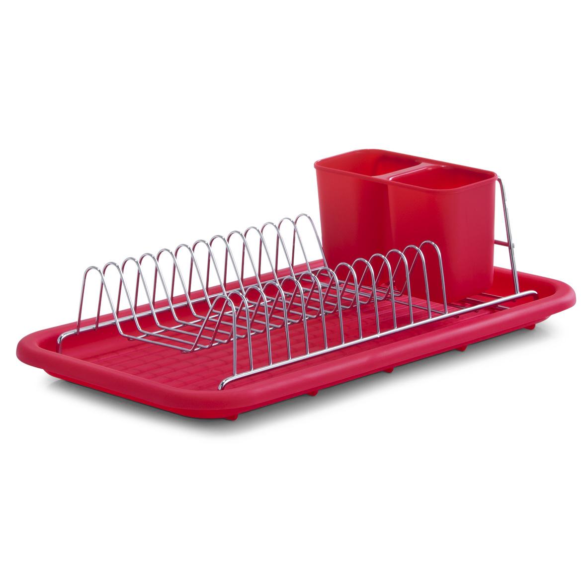 Подставка для сушки посуды Zeller, цвет: красный24899Подставка для сушки посуды Zeller выполнена из нержавеющей стали с хромированным покрытием и оснащена пластиковым поддоном и подставкой для приборов. В сушилке предусмотрены отделения для тарелок и для столовых приборов. Отделение для столовых приборов, разделенное на две секции, при необходимости вынимается. Благодаря конструкции с вместительным поддоном для сбора воды, вы не будете тратить время на вытирание посуды после мытья. Стильный, современный и лаконичный дизайн сделает сушилку Zeller прекрасным дополнением интерьера вашей кухни. Размер поддона: 44 см х 24 см х 3 см. Размер подставки для столовых приборов: 15,5 см х 9,5 см х 8 см. Размер подставки для тарелок: 18 см х 35,5 см х 10,5 см.