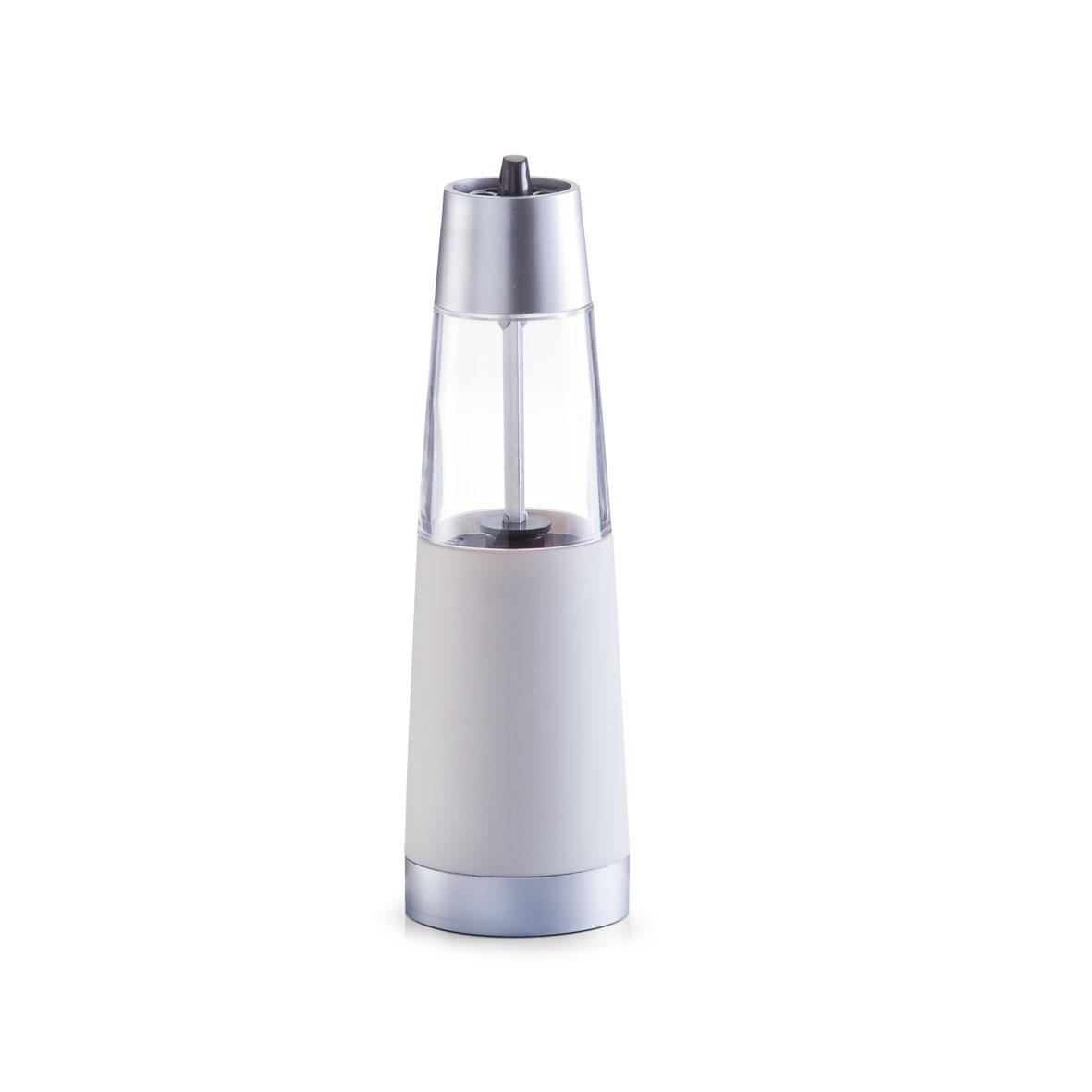 Измельчитель для соли и перца Zeller, электрический, цвет: серебристый, прозрачный, высота 19 см24920Измельчитель Zeller выполнен в современном стиле и предназначен для перемалывания морской соли и перца. Изделие имеет пластиковое основание и прозрачную емкость. Мельница оснащена регулируемым керамическим механизмом помола. Чтобы привести механизм в действие нужно просто нажать кнопку и она автоматически начнет перемалывать. Измельчитель Zeller добавит вашим блюдам яркие вкусовые краски. Изделие удобно в использовании и имеет стильный дизайн, который станет ярким акцентом в интерьере вашей кухни. Работает от 6 батареек типа ААА (в комплект не входят).